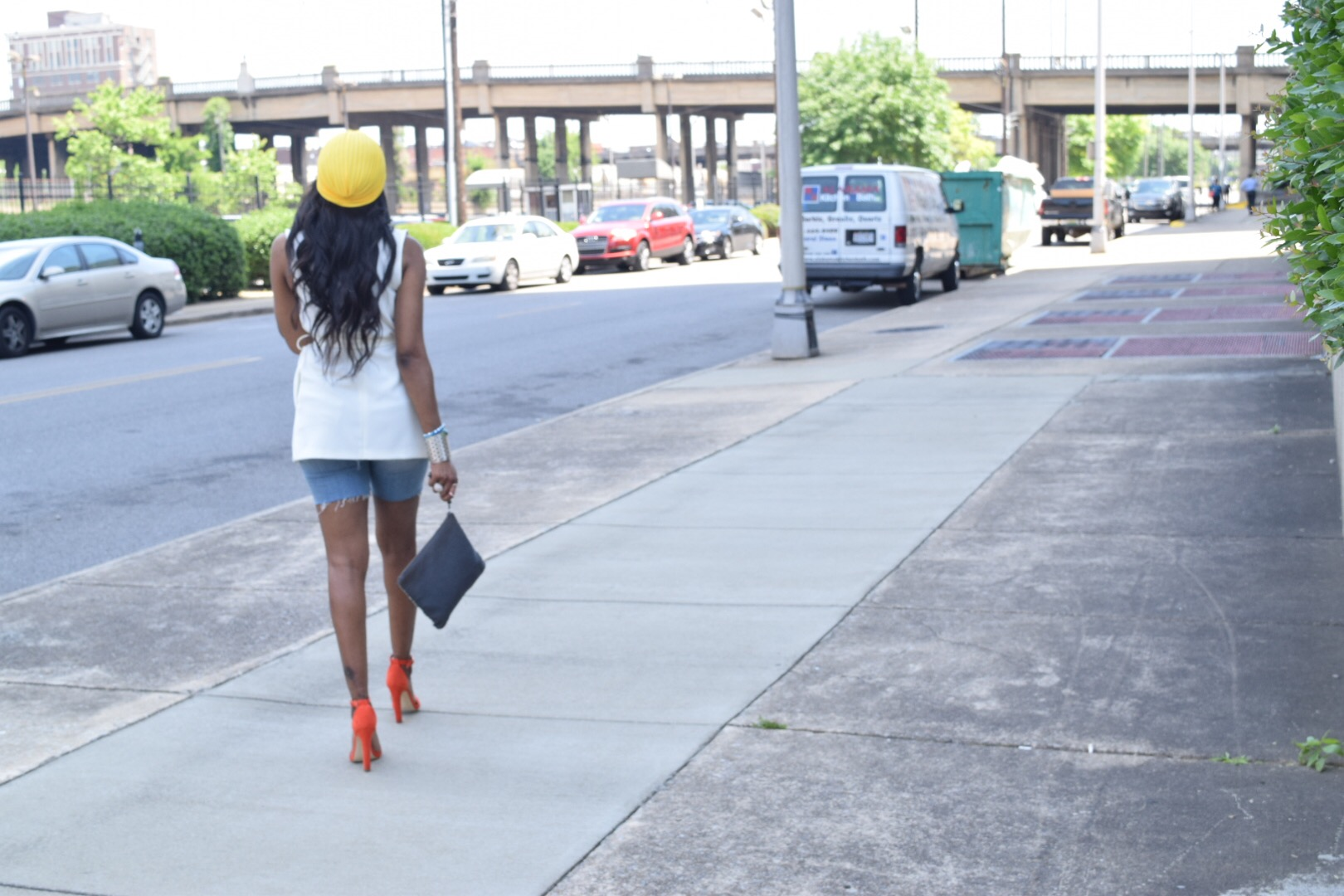 Style-Files-Forever 21-White-Longline Belted-Vest-Mossimo-Denim-Distressed--shorts-Justfab-Orange-heel-kati-sandals-yellow-turban-mirror-sunglasses-oohlalablog-15