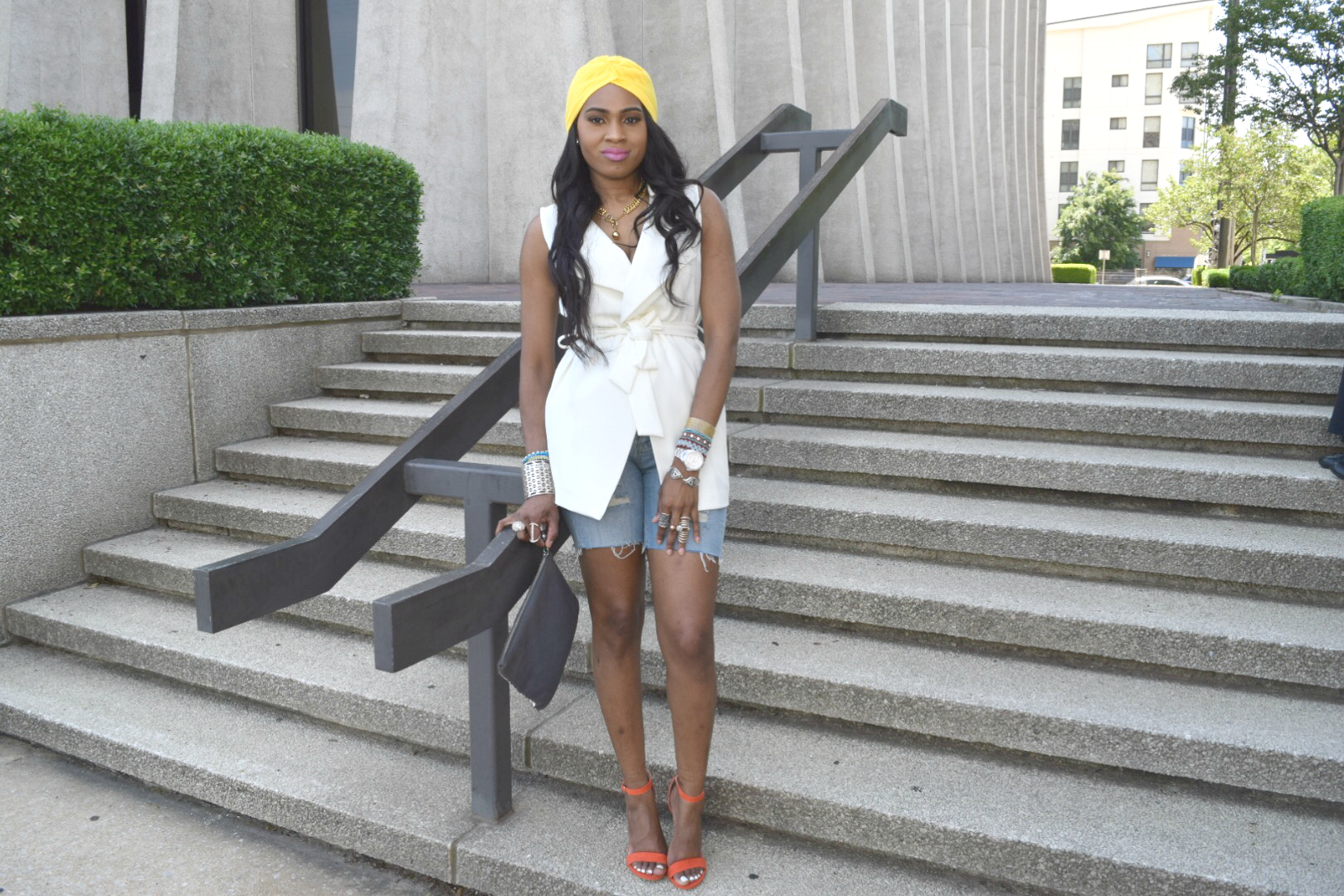 Style-Files-Forever 21-White-Longline Belted-Vest-Mossimo-Denim-Distressed--shorts-Justfab-Orange-heel-kati-sandals-yellow-turban-mirror-sunglasses-oohlalablog-2
