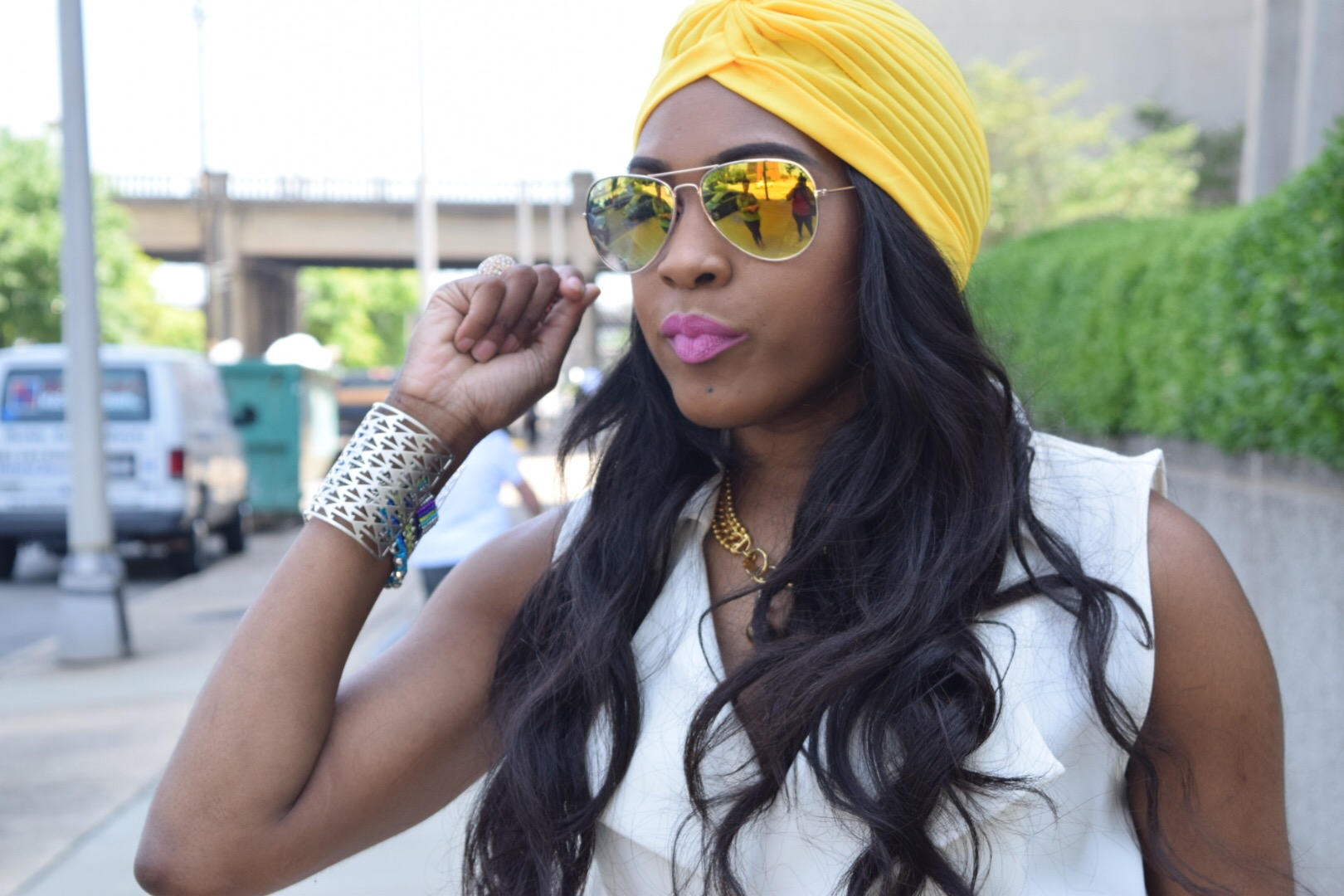 Style-Files-Forever 21-White-Longline Belted-Vest-Mossimo-Denim-Distressed--shorts-Justfab-Orange-heel-kati-sandals-yellow-turban-mirror-sunglasses-oohlalablog-20