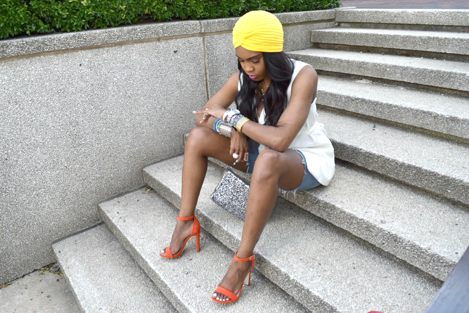 Style-Files-Forever 21-White-Longline Belted-Vest-Mossimo-Denim-Distressed--shorts-Justfab-Orange-heel-kati-sandals-yellow-turban-mirror-sunglasses-oohlalablog-5