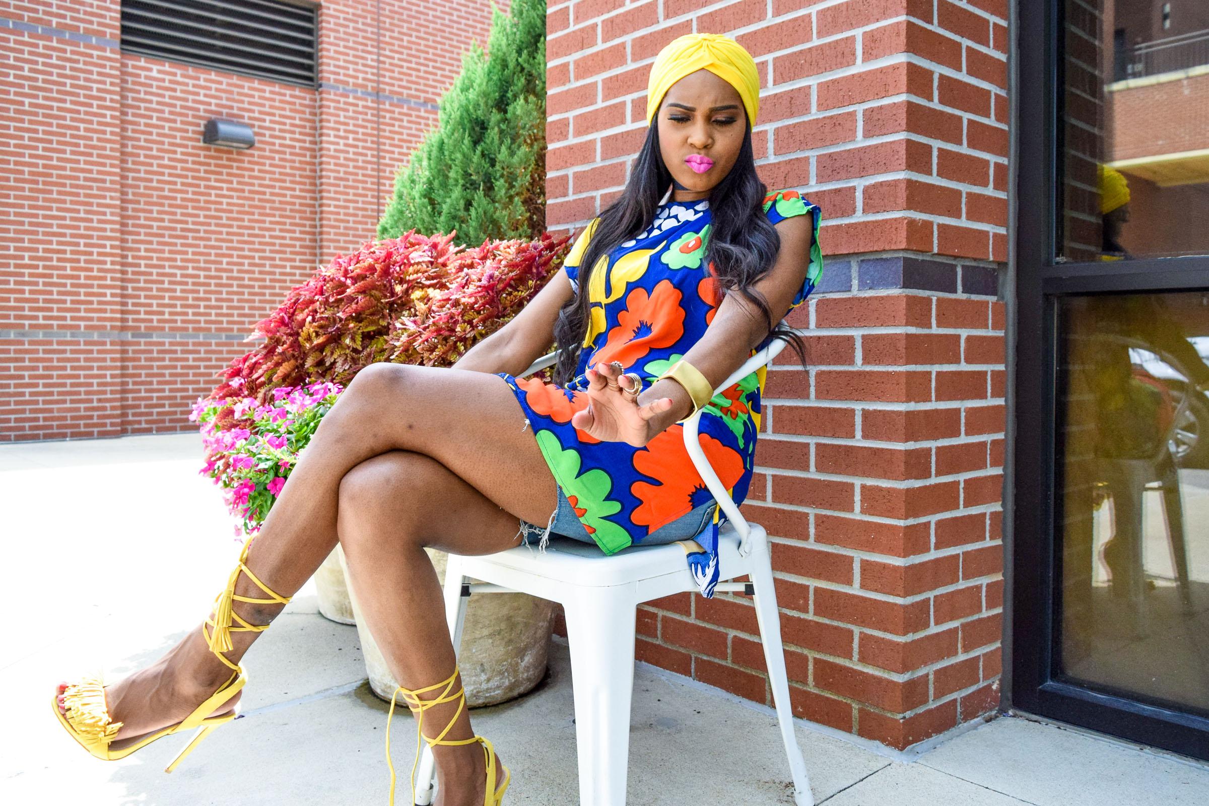 Style-Files-Target-Marimeko-collection -floral-tunic-justfab-tayrey-yellow-fringe-heels-sandals-yellow-turban-asos-denim-choker-oohlalablog-