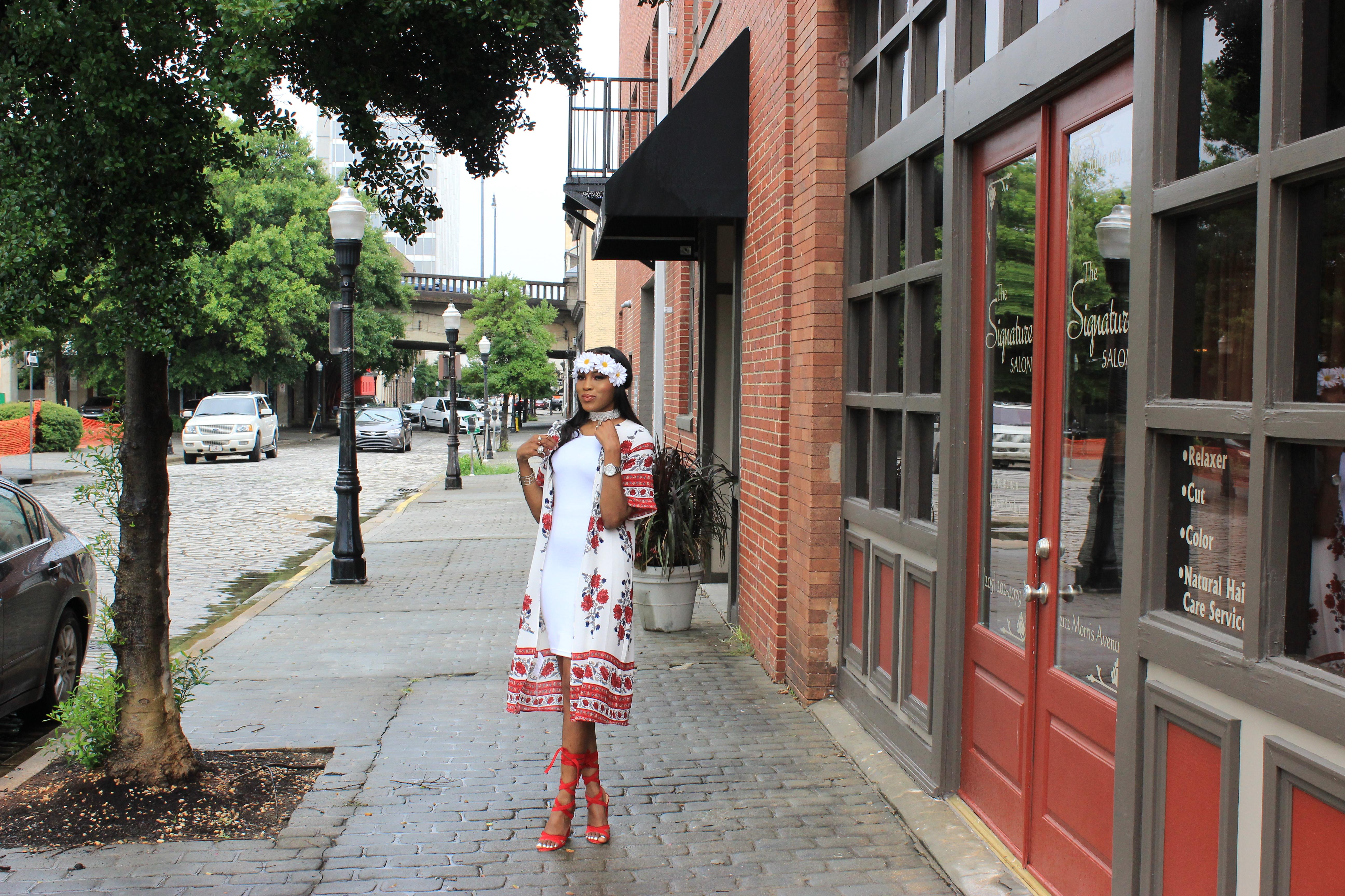 Style-Files-White-forever21-sleeveless-dress-boohoo-Lucy Border Print Maxi Shortsleeve Kimono-Boohoo-ruby-Scalloped Lace Choker-Public-desire-red-lace-uP-heels-forever-21-daisy-headband-oohlalablog-12