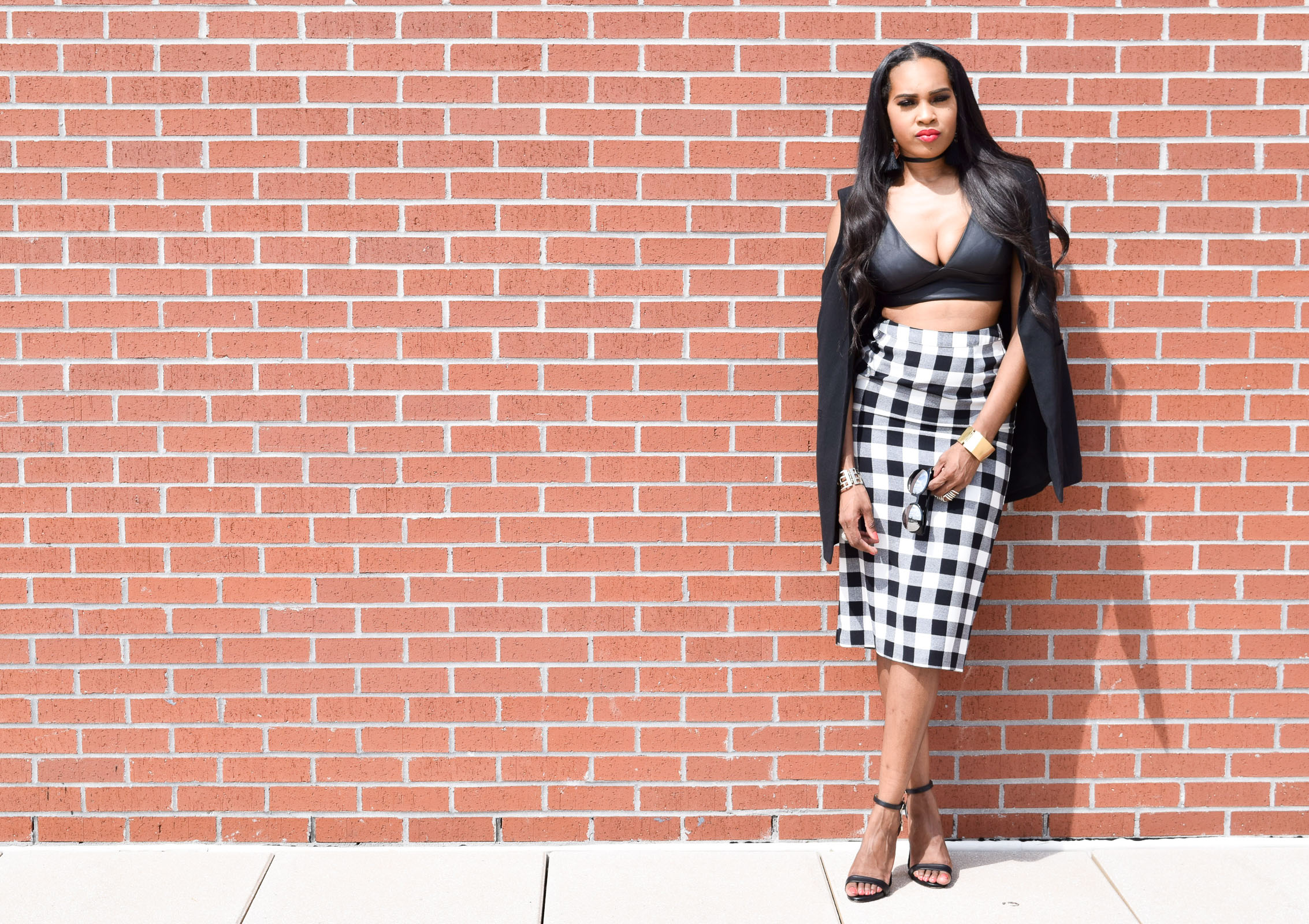 Style-Files-WhoWhatWear-Target-collection-black-white-gingham-pencil-skirt-forever-21-black-leather-bralette-top-justfab-catherina-black-ankle-strap-sandals-Target-Mossimo-vest-who-to-wear-gingham-OohLaLaBlog-