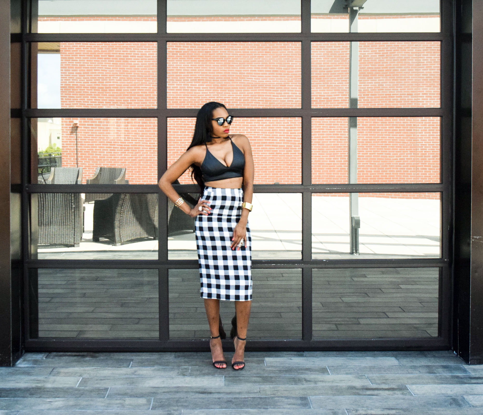 Style-Files-WhoWhatWear-Target-collection-black-white-gingham-pencil-skirt-forever-21-black-leather-bralette-top-justfab-catherina-black-ankle-strap-sandals-Target-Mossimo-vest-who-to-wear-gingham-OohLaLaBlog-13