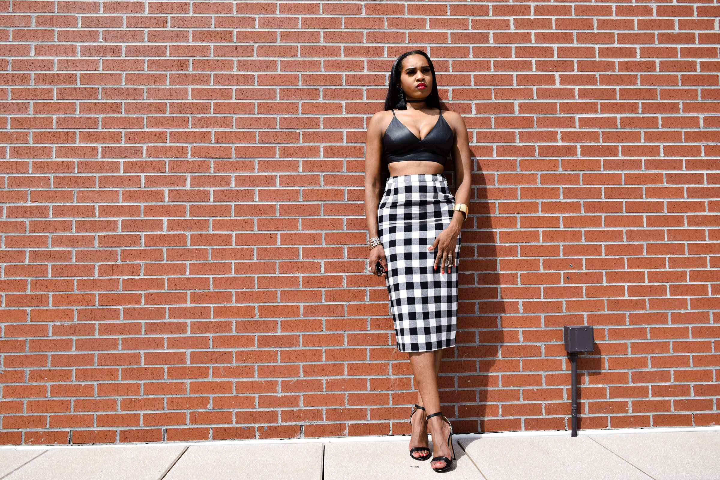 Style-Files-WhoWhatWear-Target-collection-black-white-gingham-pencil-skirt-forever-21-black-leather-bralette-top-justfab-catherina-black-ankle-strap-sandals-Target-Mossimo-vest-who-to-wear-gingham-OohLaLaBlog-2
