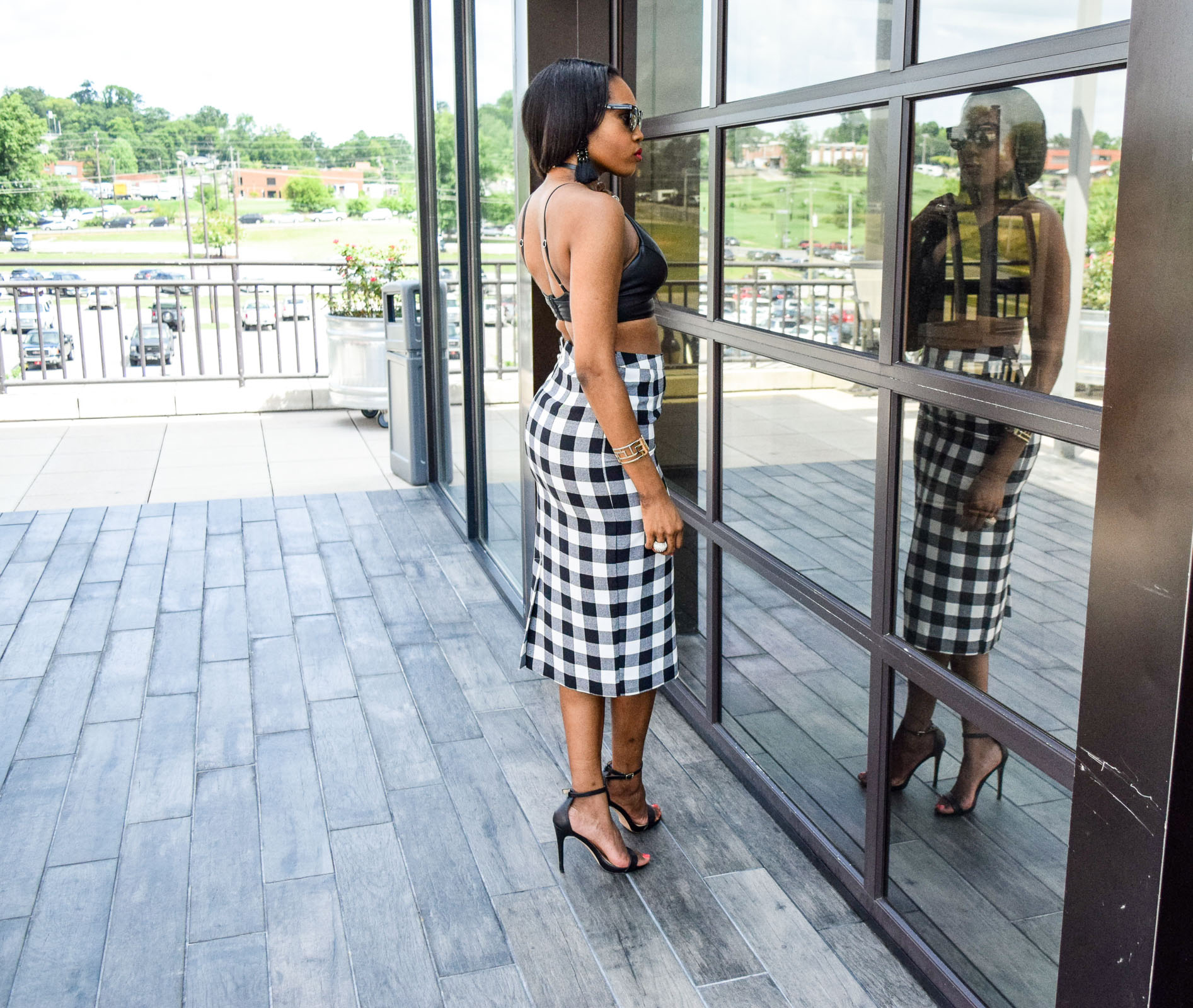 Style-Files-WhoWhatWear-Target-collection-black-white-gingham-pencil-skirt-forever-21-black-leather-bralette-top-justfab-catherina-black-ankle-strap-sandals-Target-Mossimo-vest-who-to-wear-gingham-OohLaLaBlog-9