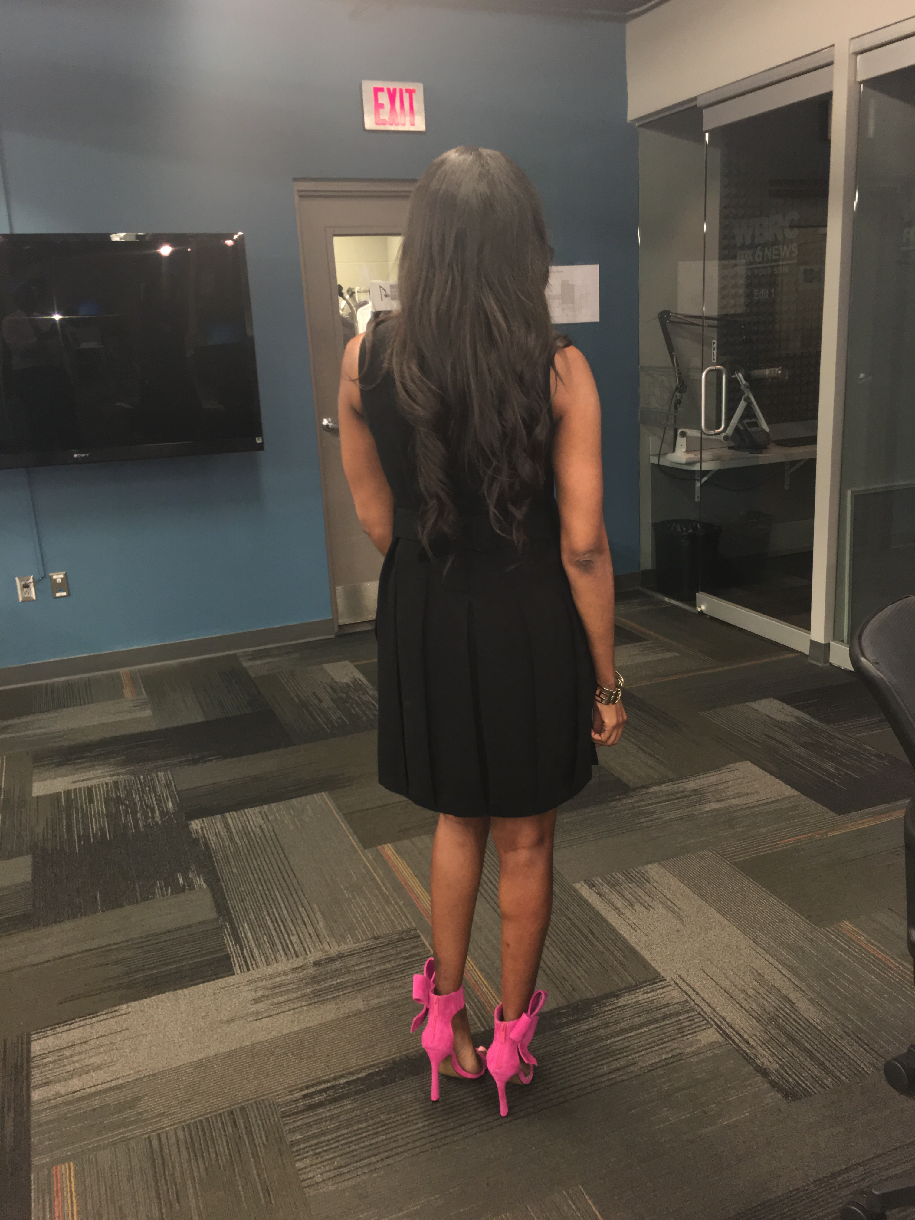 Style-files-jcpenney worthington-black-mockneck-sleeveless-dress-silver-front-button-embellishments-Betsey-Johnson-bow-sandals-