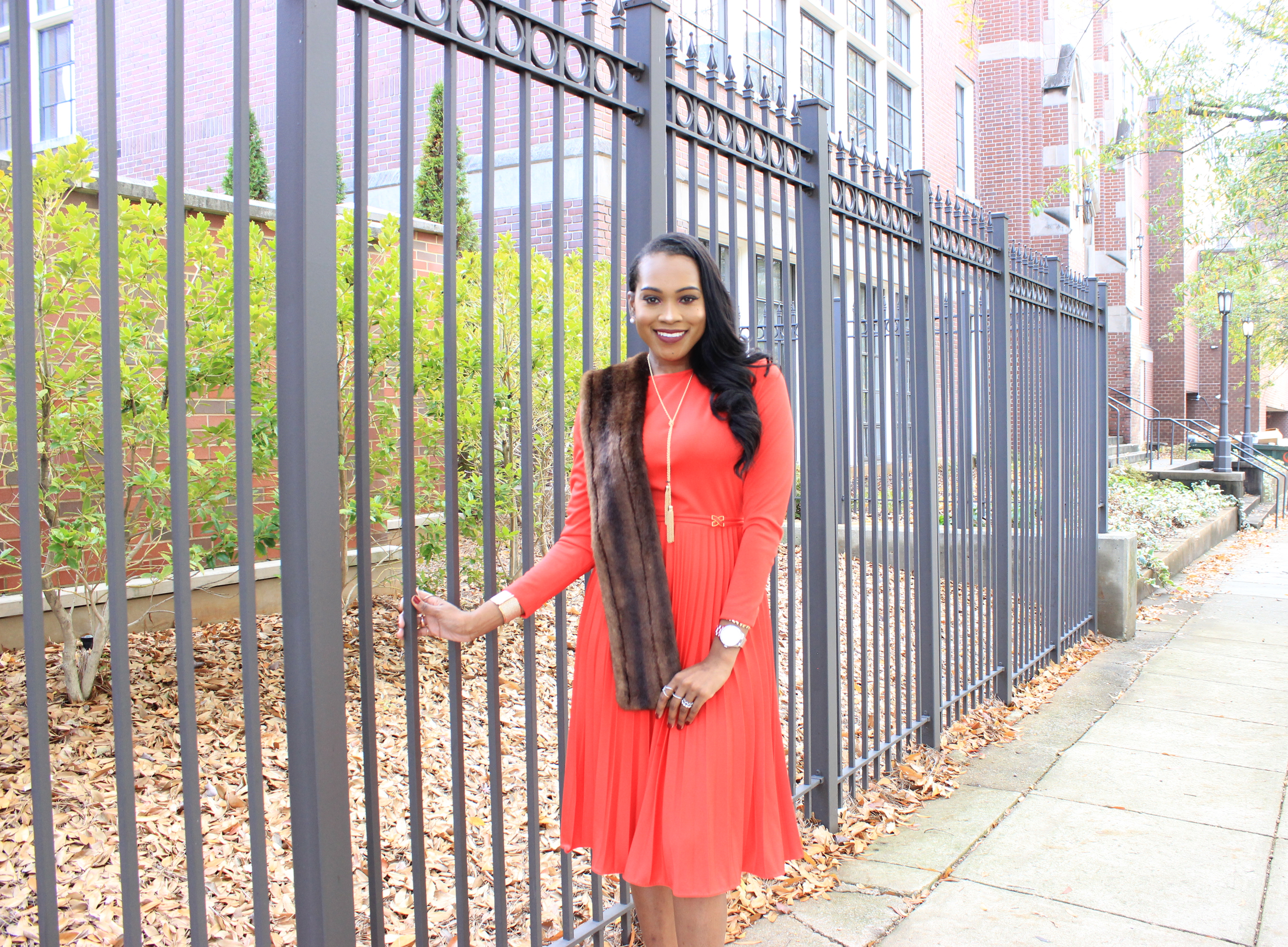 style-files-vintage-carol-craig-red-pleated-dress-just-fab-hadley-red-bow-pumps-INC-faux-fur-stole-oohlalablog-3