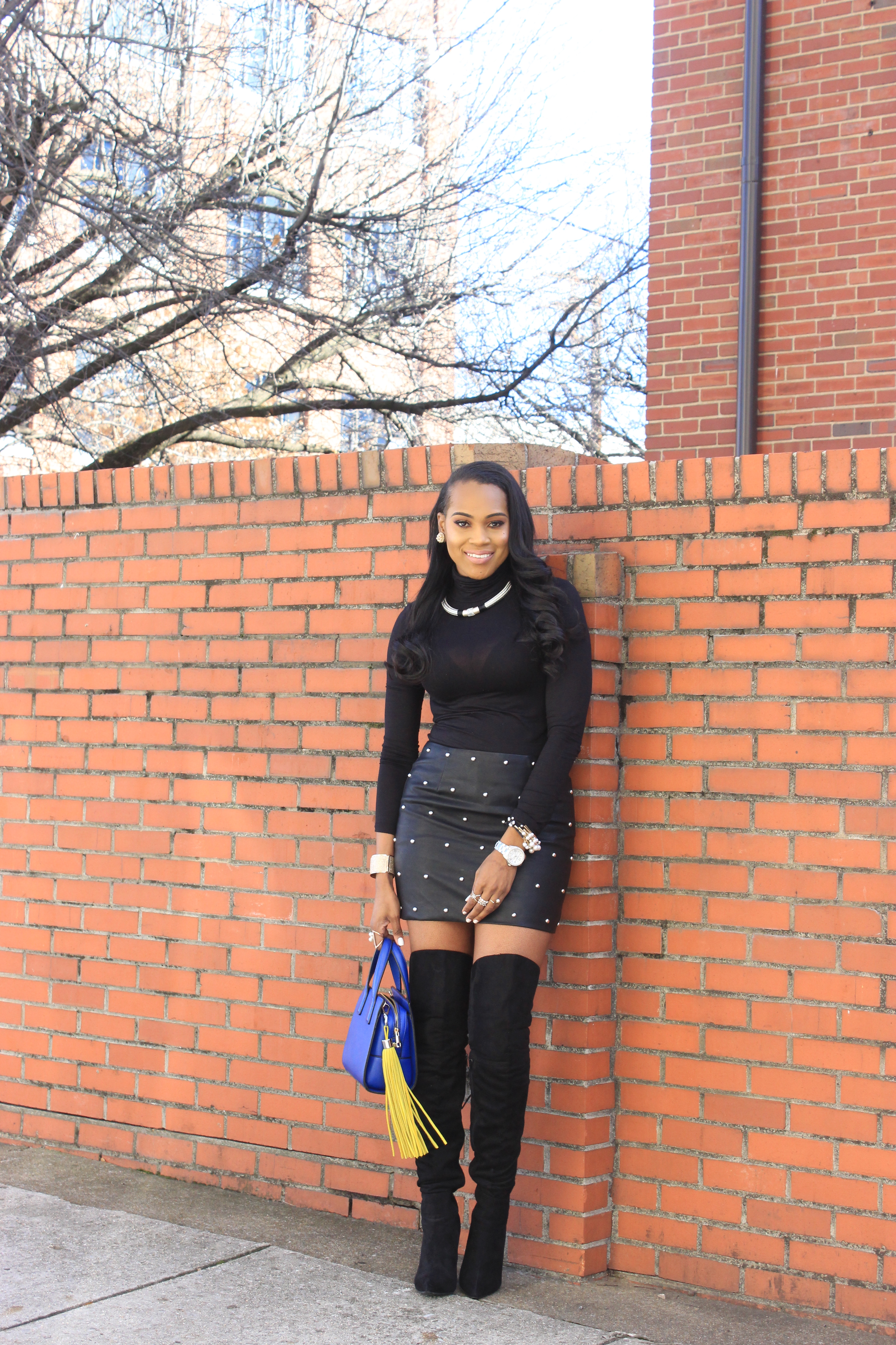 Style-Files-SheIn-Multicolor-Lapel-Color-Block-Coat-Forever21-Faux-Leather-studded-mini-skirt-black-sheer-turtleneck-Truffle-Collection-Over- The-Knee-Lace-Up-Back-High-Heeled-Boots-Hot-Pink-Beanie-Winter-Coat-Style-Guide-Oohlalablog-10