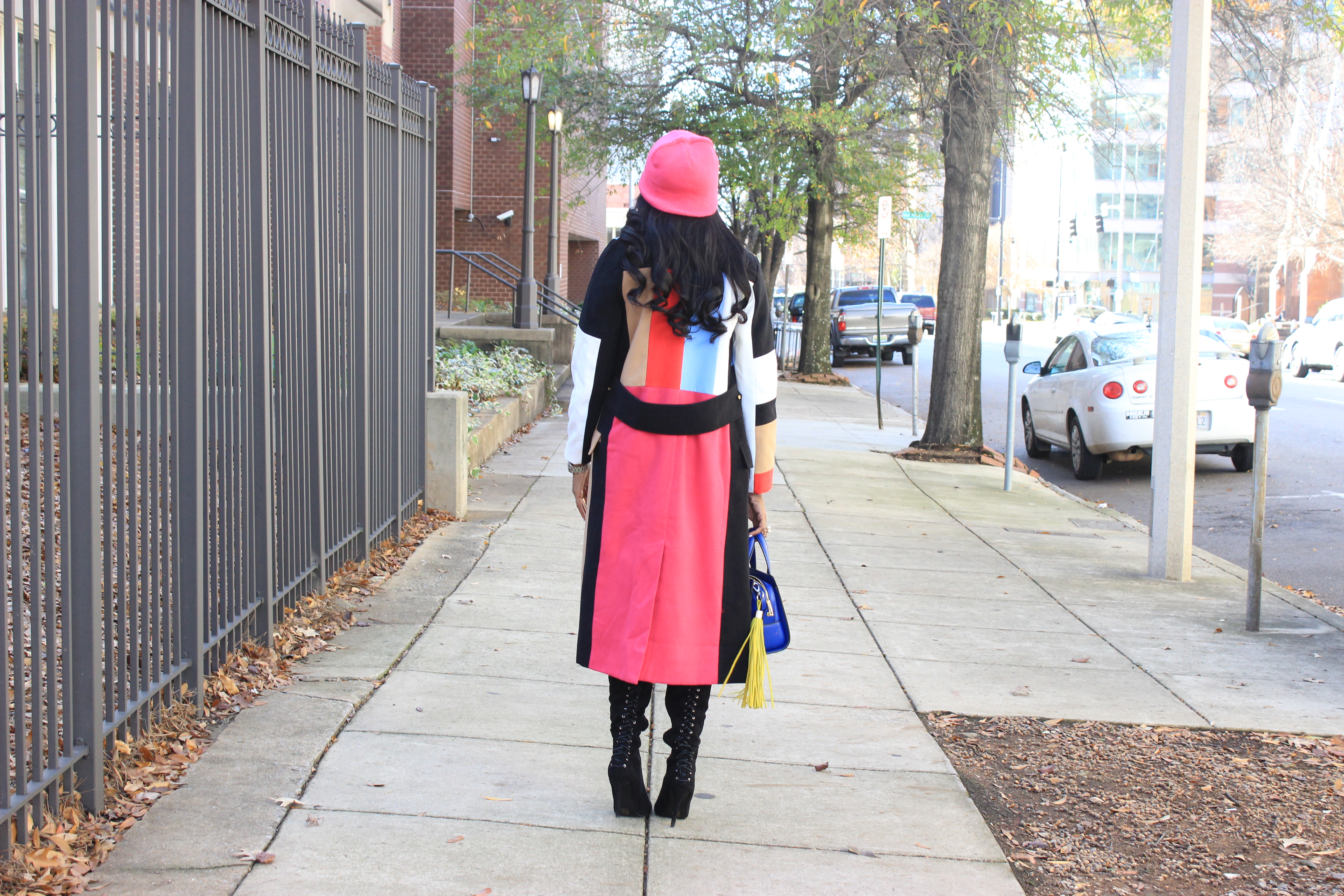 Style-Files-SheIn-Multicolor-Lapel-Color-Block-Coat-Forever21-Faux-Leather-studded-mini-skirt-black-sheer-turtleneck-Truffle-Collection-Over- The-Knee-Lace-Up-Back-High-Heeled-Boots-Hot-Pink-Beanie-Winter-Coat-Style-Guide-Oohlalablog-16