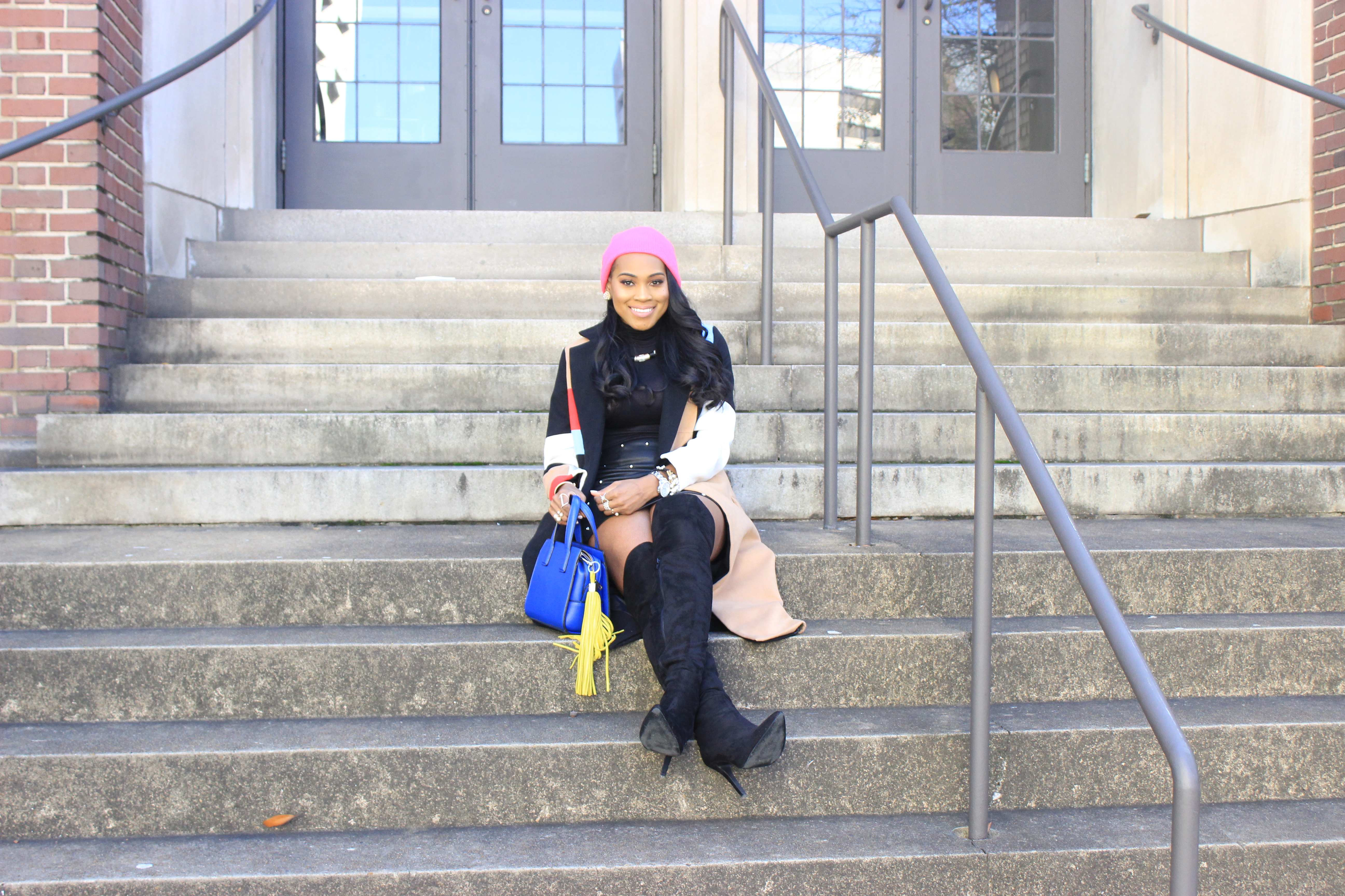 Style-Files-SheIn-Multicolor-Lapel-Color-Block-Coat-Forever21-Faux-Leather-studded-mini-skirt-black-sheer-turtleneck-Truffle-Collection-Over- The-Knee-Lace-Up-Back-High-Heeled-Boots-Hot-Pink-Beanie-Winter-Coat-Style-Guide-Oohlalablog-17
