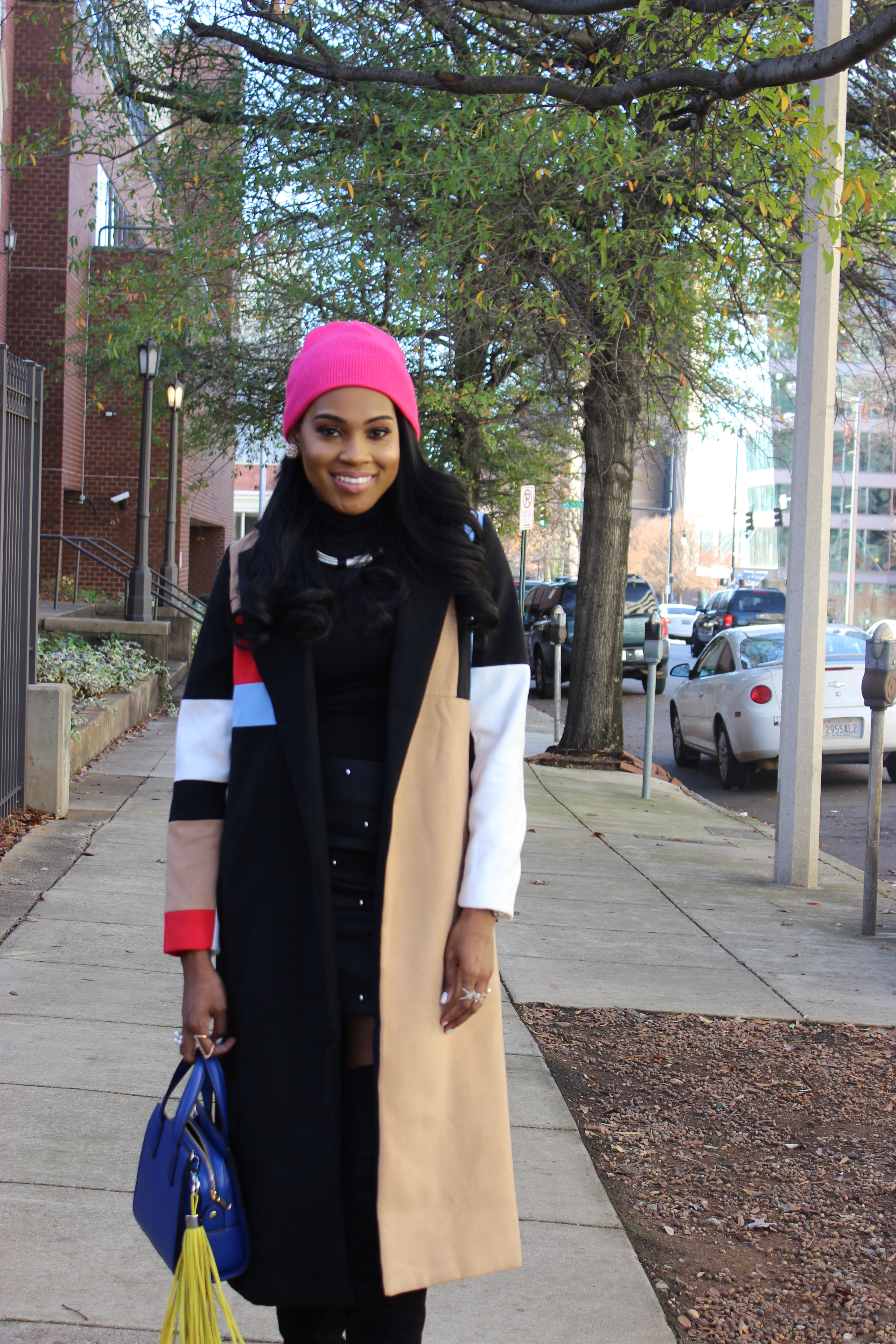 Style-Files-SheIn-Multicolor-Lapel-Color-Block-Coat-Forever21-Faux-Leather-studded-mini-skirt-black-sheer-turtleneck-Truffle-Collection-Over- The-Knee-Lace-Up-Back-High-Heeled-Boots-Hot-Pink-Beanie-Winter-Coat-Style-Guide-Oohlalablog-3