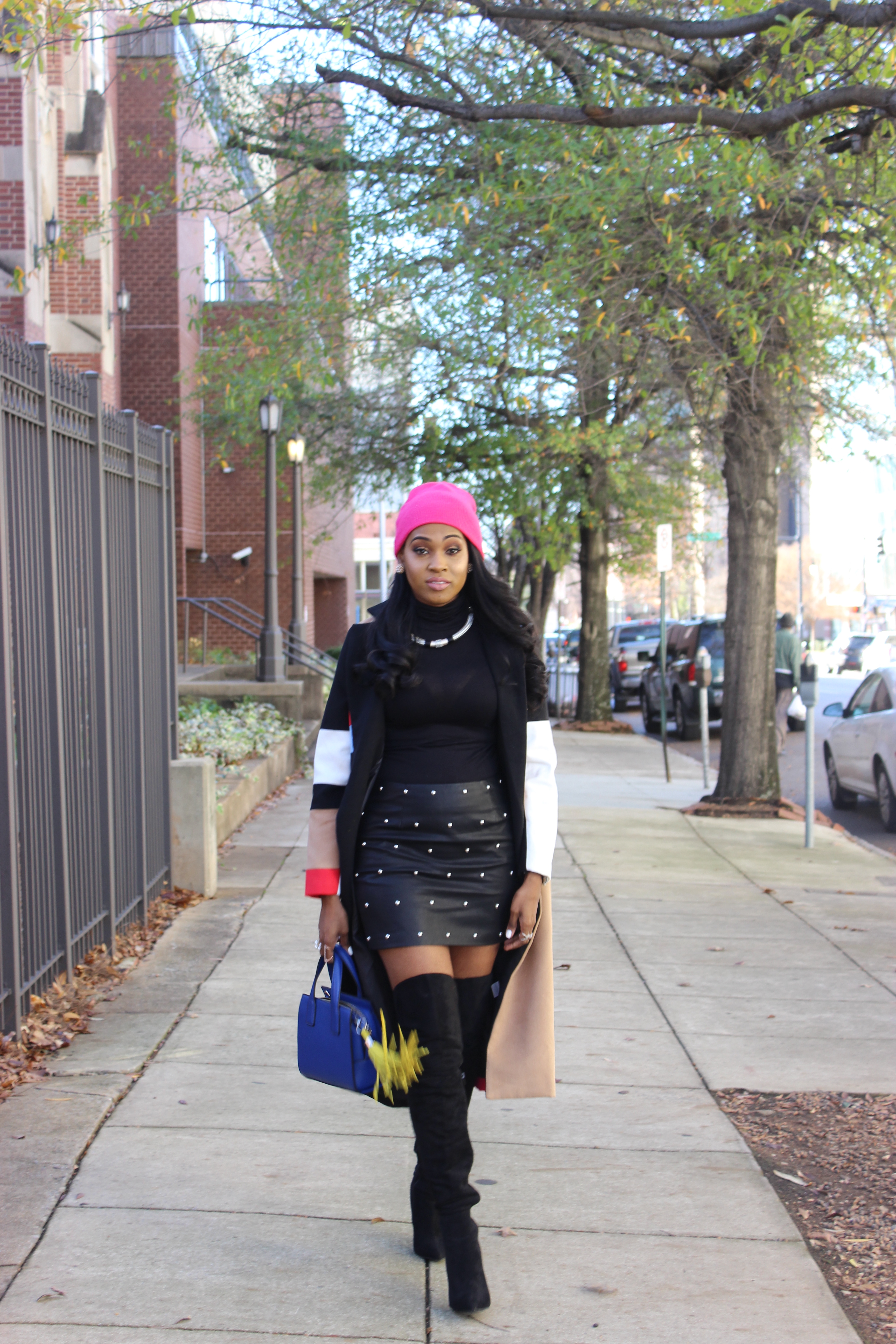 Style-Files-SheIn-Multicolor-Lapel-Color-Block-Coat-Forever21-Faux-Leather-studded-mini-skirt-black-sheer-turtleneck-Truffle-Collection-Over- The-Knee-Lace-Up-Back-High-Heeled-Boots-Hot-Pink-Beanie-Winter-Coat-Style-Guide-Oohlalablog-31