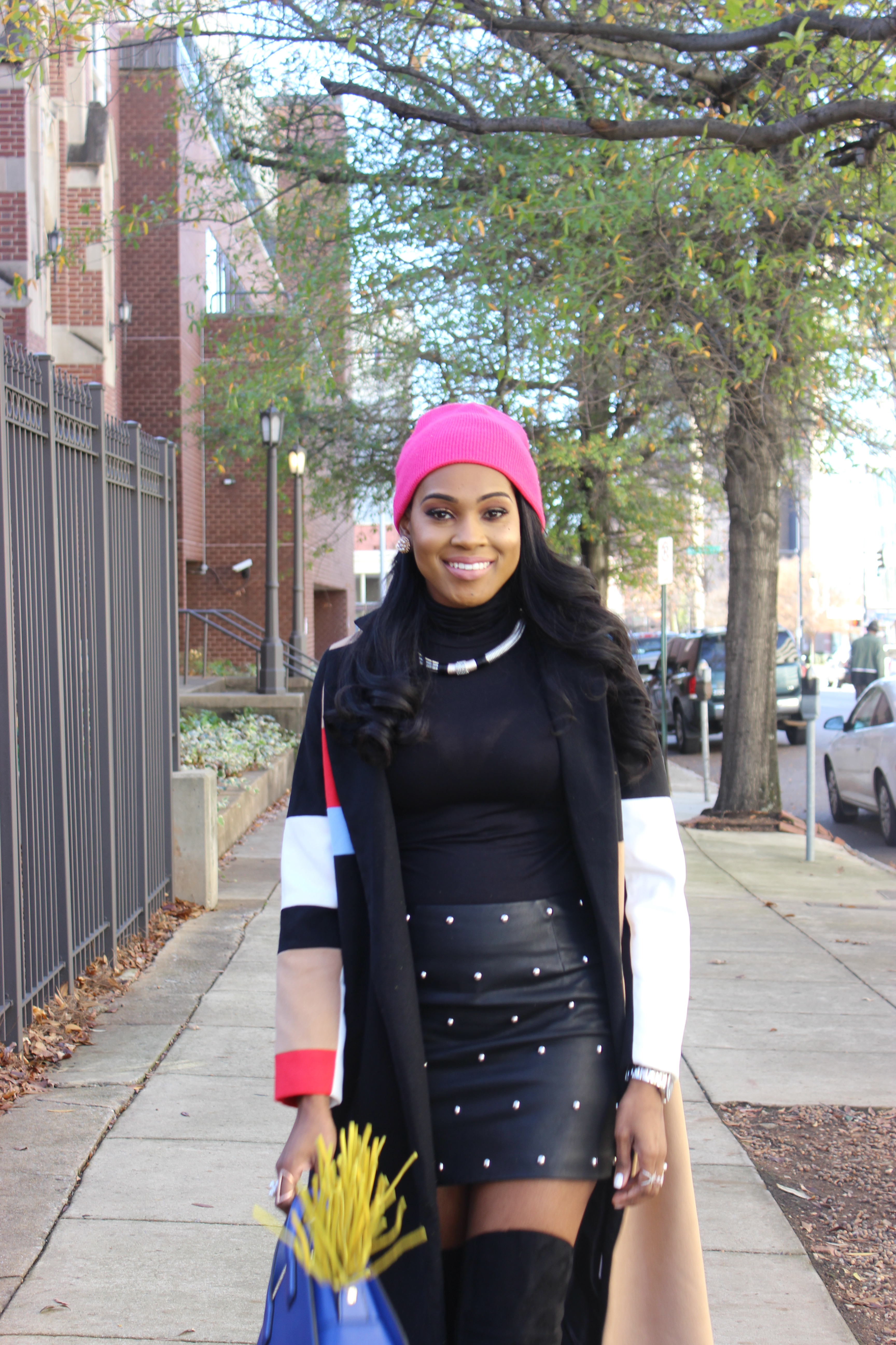 Style-Files-SheIn-Multicolor-Lapel-Color-Block-Coat-Forever21-Faux-Leather-studded-mini-skirt-black-sheer-turtleneck-Truffle-Collection-Over- The-Knee-Lace-Up-Back-High-Heeled-Boots-Hot-Pink-Beanie-Winter-Coat-Style-Guide-Oohlalablog-4