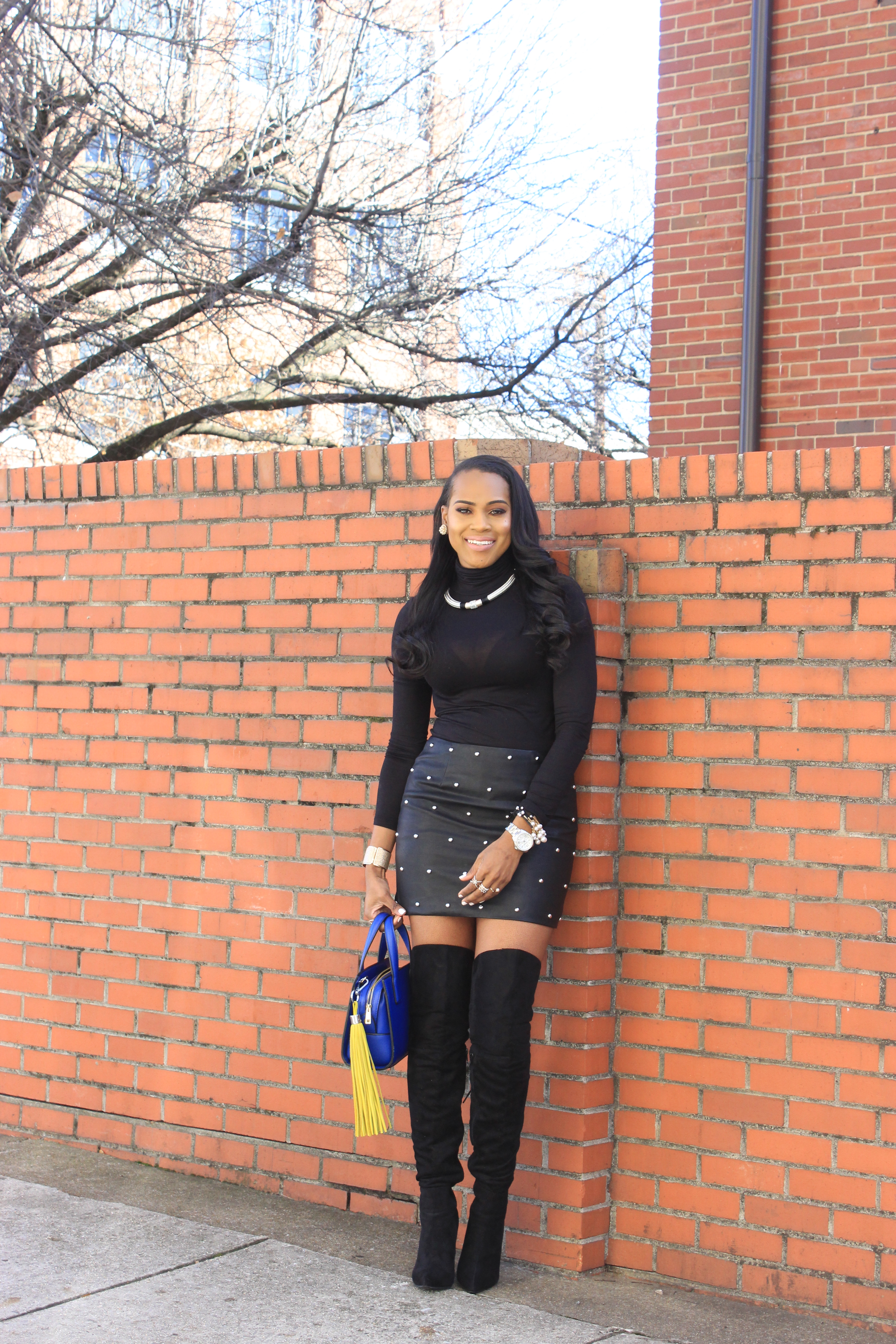 Style-Files-SheIn-Multicolor-Lapel-Color-Block-Coat-Forever21-Faux-Leather-studded-mini-skirt-black-sheer-turtleneck-Truffle-Collection-Over- The-Knee-Lace-Up-Back-High-Heeled-Boots-Hot-Pink-Beanie-Winter-Coat-Style-Guide-Oohlalablog-8
