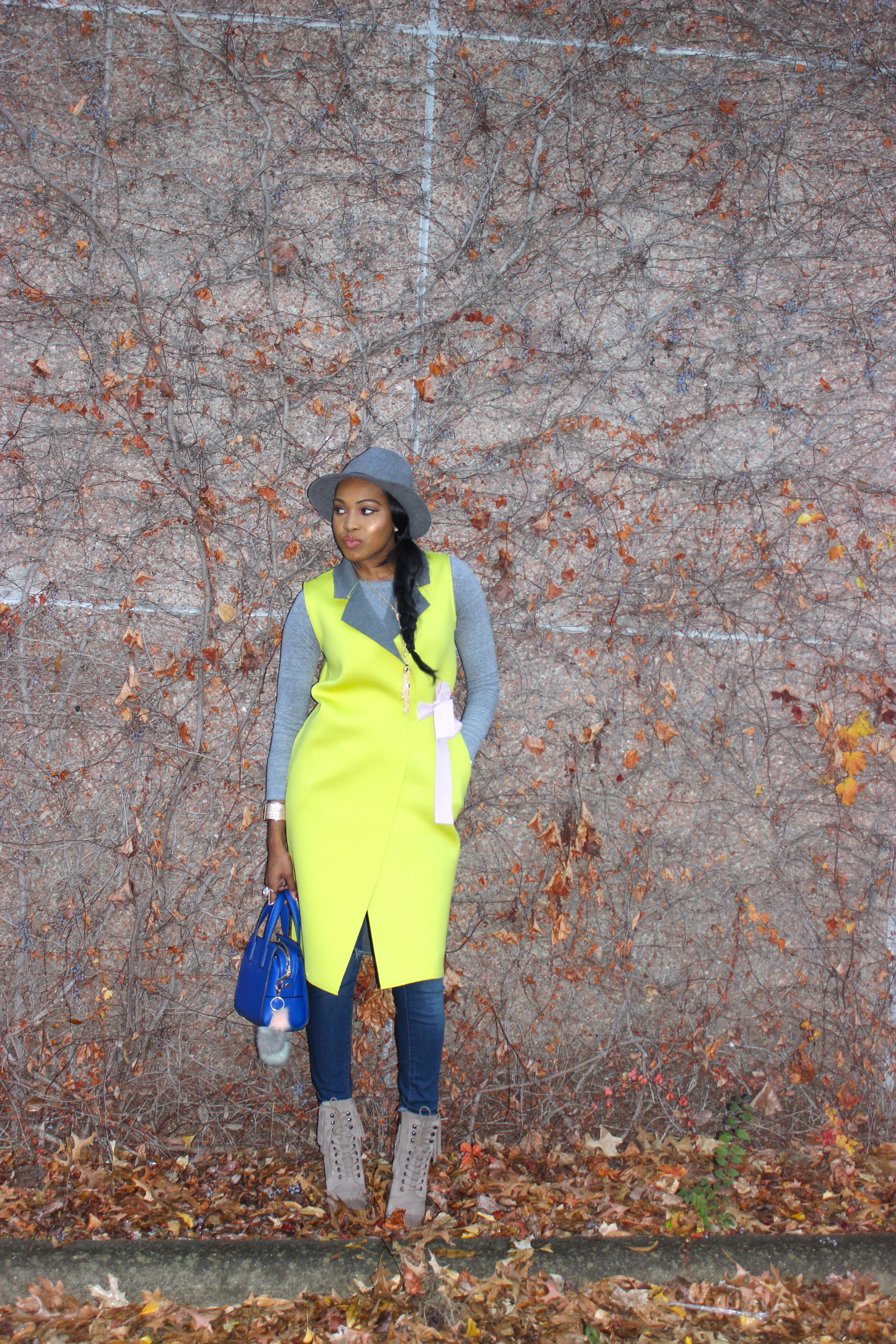 Style-Files-SheIn-Yellow Double-Face-Sleeveless Wrap-Coat-Jessica-Simpson-jeans- Forever21-grey-fedora-Kenneth-Cole-Newyork-Natural-Olla Fringe-Suede Boots-oohlalablog-4