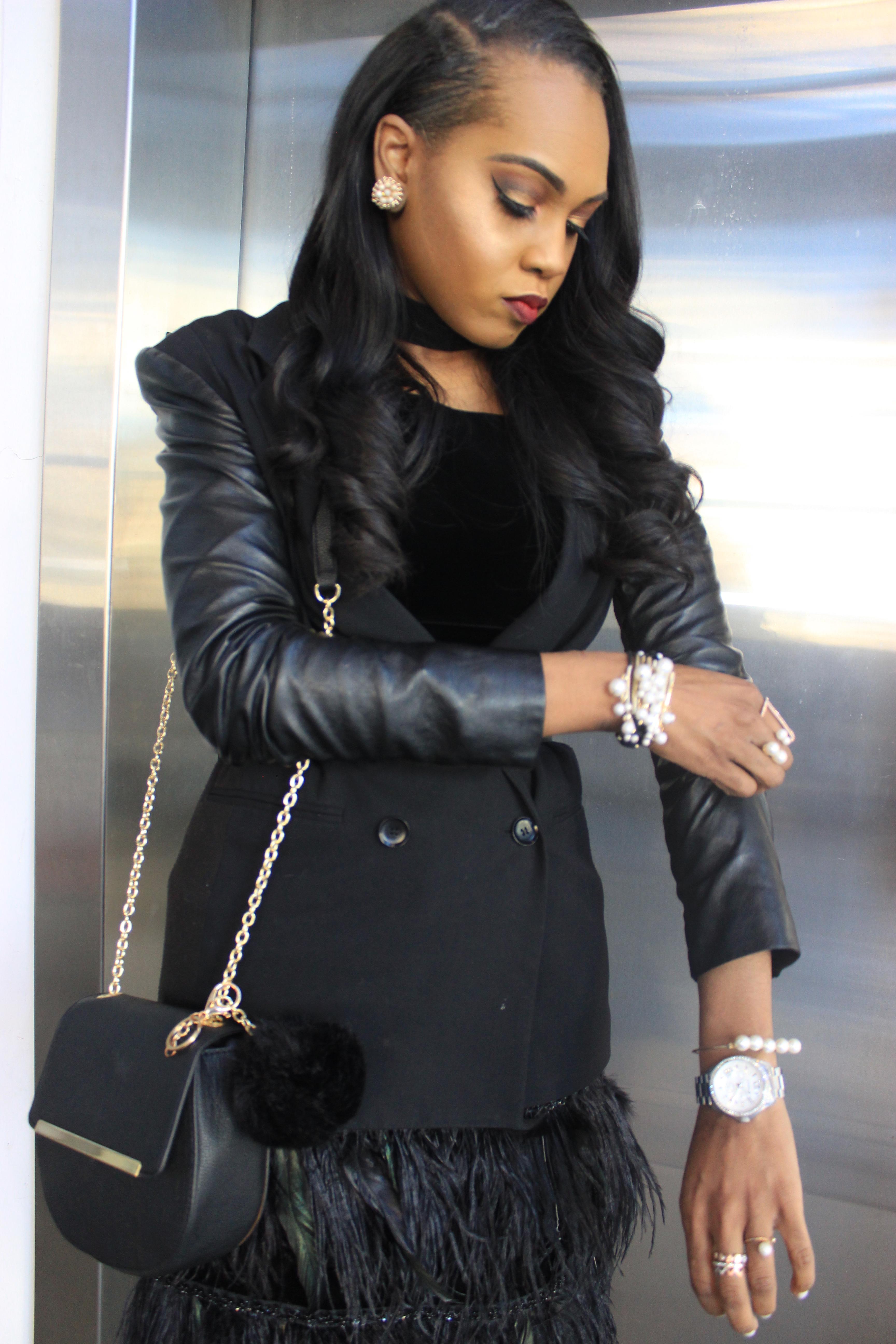 Style-Files-Victor-Costa-Vintage-velvet-Feather-Dress-BCBGMaxAzria-Leather-Sleeve-Blazer-JustFab-Hadley-black-bow-pumps-feather-hem-dress-oohlalablog-13