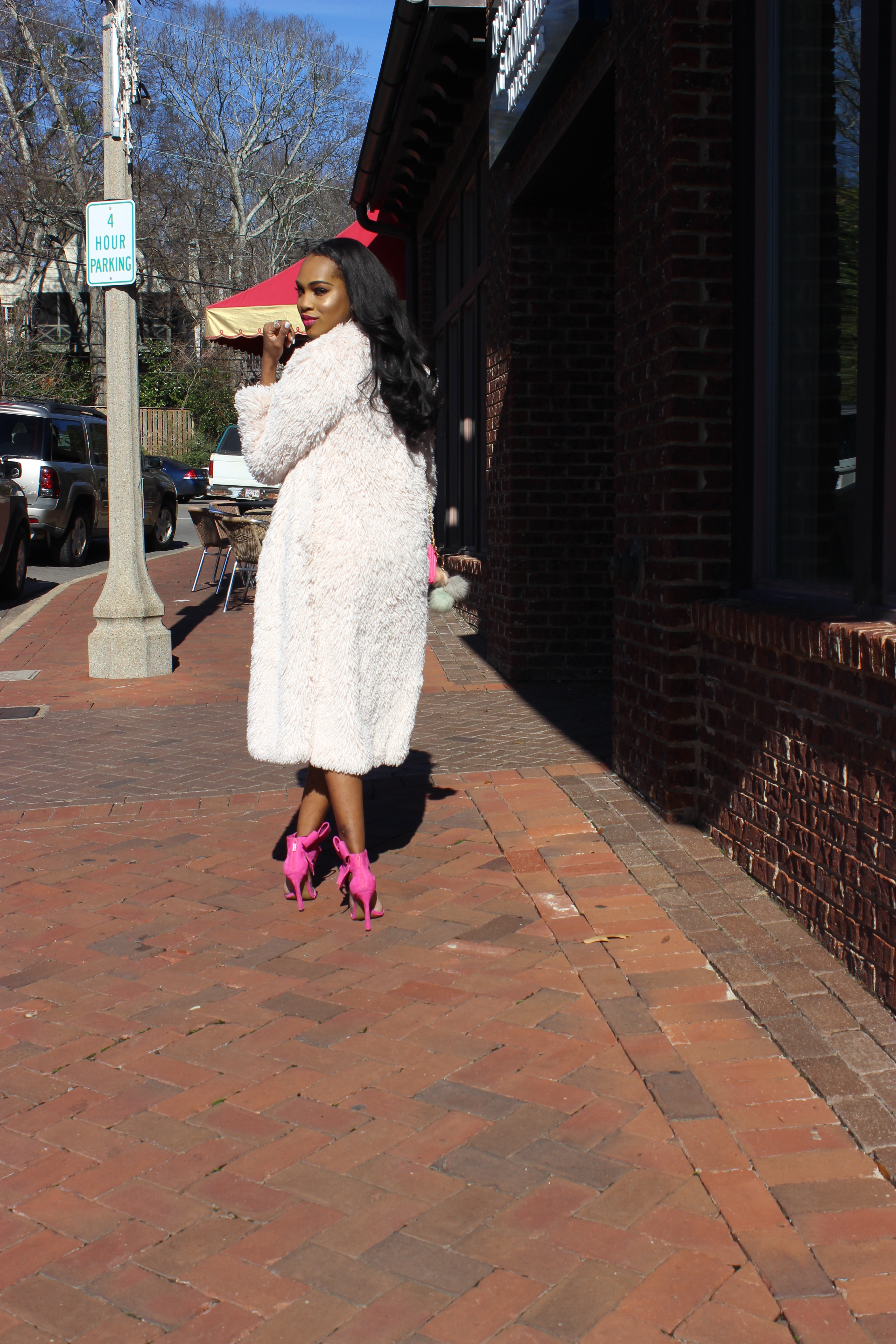 Style-files-Club L-kimono-Sleeve-Midi-Dress-in-Allover-Sequin-With-Center-Split-Hot-pink-Betsey-johnson-bow-sandals-forever21-faux-fur-longline-duster-oohlalablog-2