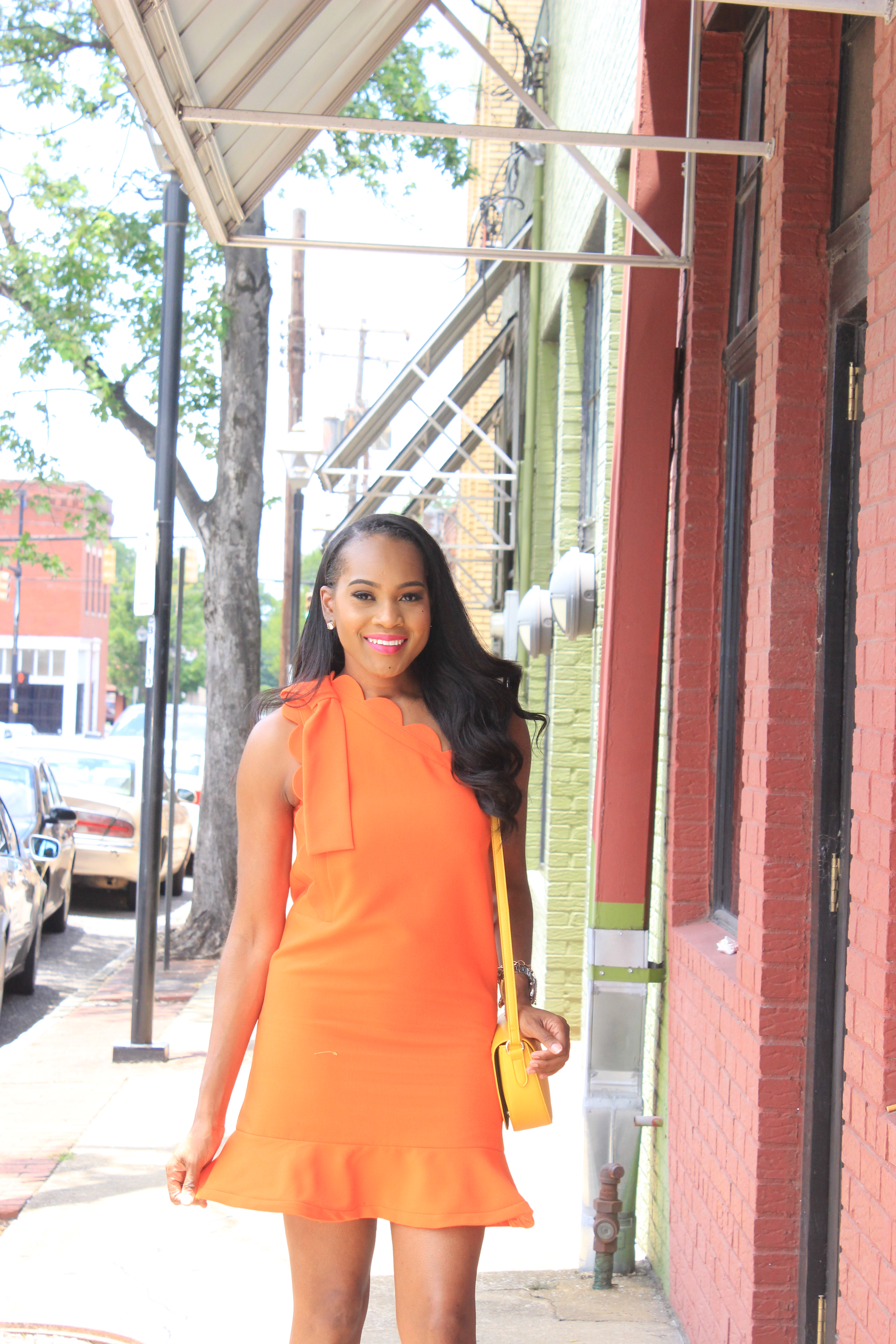 Style-Files-Orange-One Shoulder Dress-with-Bow and-Scallop-Trim-Victoria Beckham-for-Target-How-to-wear-victoria-beckham-for-target-Victoria-Beckham-for-Target-Review-Justfab-orange-kati-ankle-strap-sandals-oohlalablog-