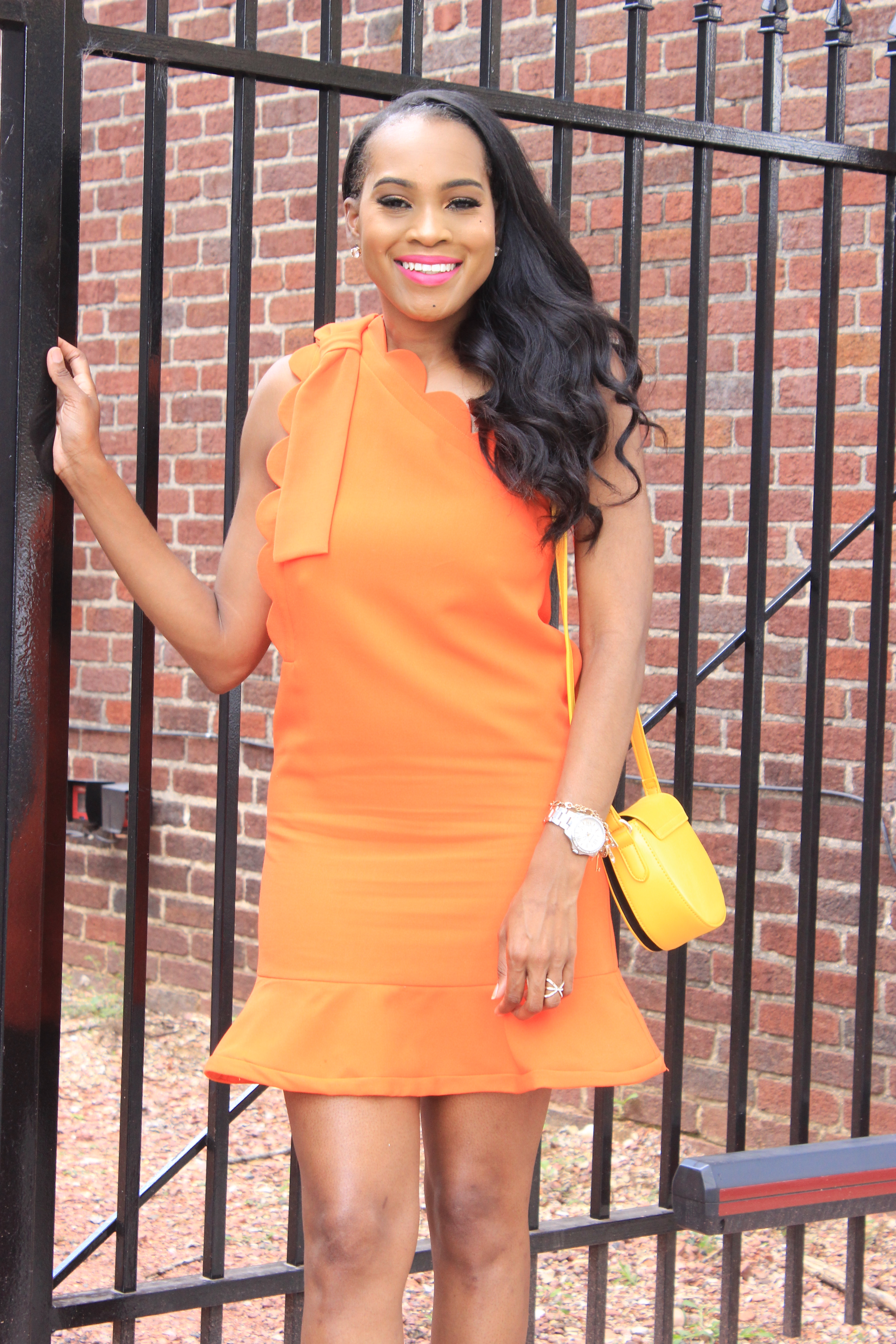 Style-Files-Orange-One Shoulder Dress-with-Bow and-Scallop-Trim-Victoria Beckham-for-Target-How-to-wear-victoria-beckham-for-target-Victoria-Beckham-for-Target-Review-Justfab-orange-kati-ankle-strap-sandals-oohlalablog-13