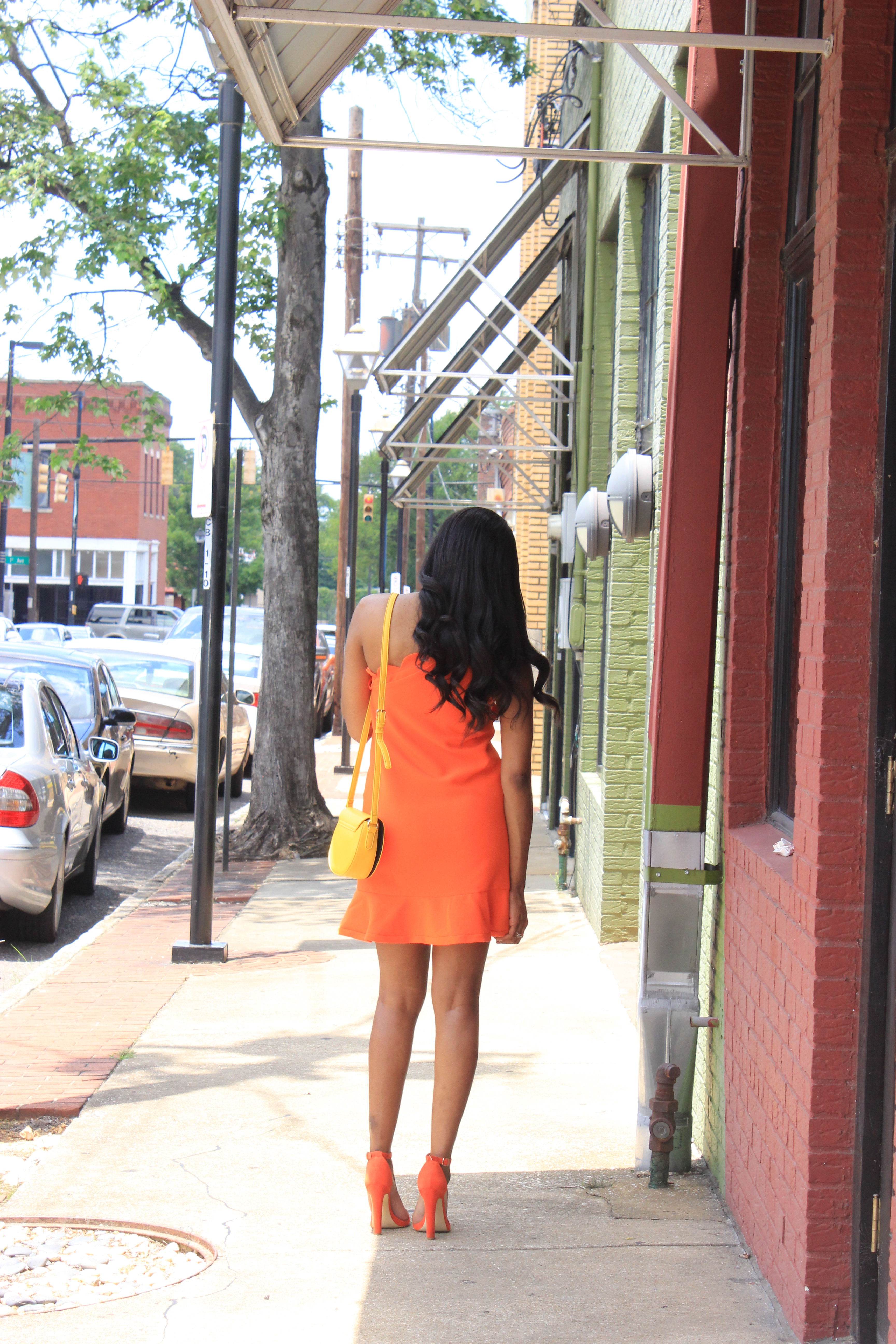 Style-Files-Orange-One Shoulder Dress-with-Bow and-Scallop-Trim-Victoria Beckham-for-Target-How-to-wear-victoria-beckham-for-target-Victoria-Beckham-for-Target-Review-Justfab-orange-kati-ankle-strap-sandals-oohlalablog-14