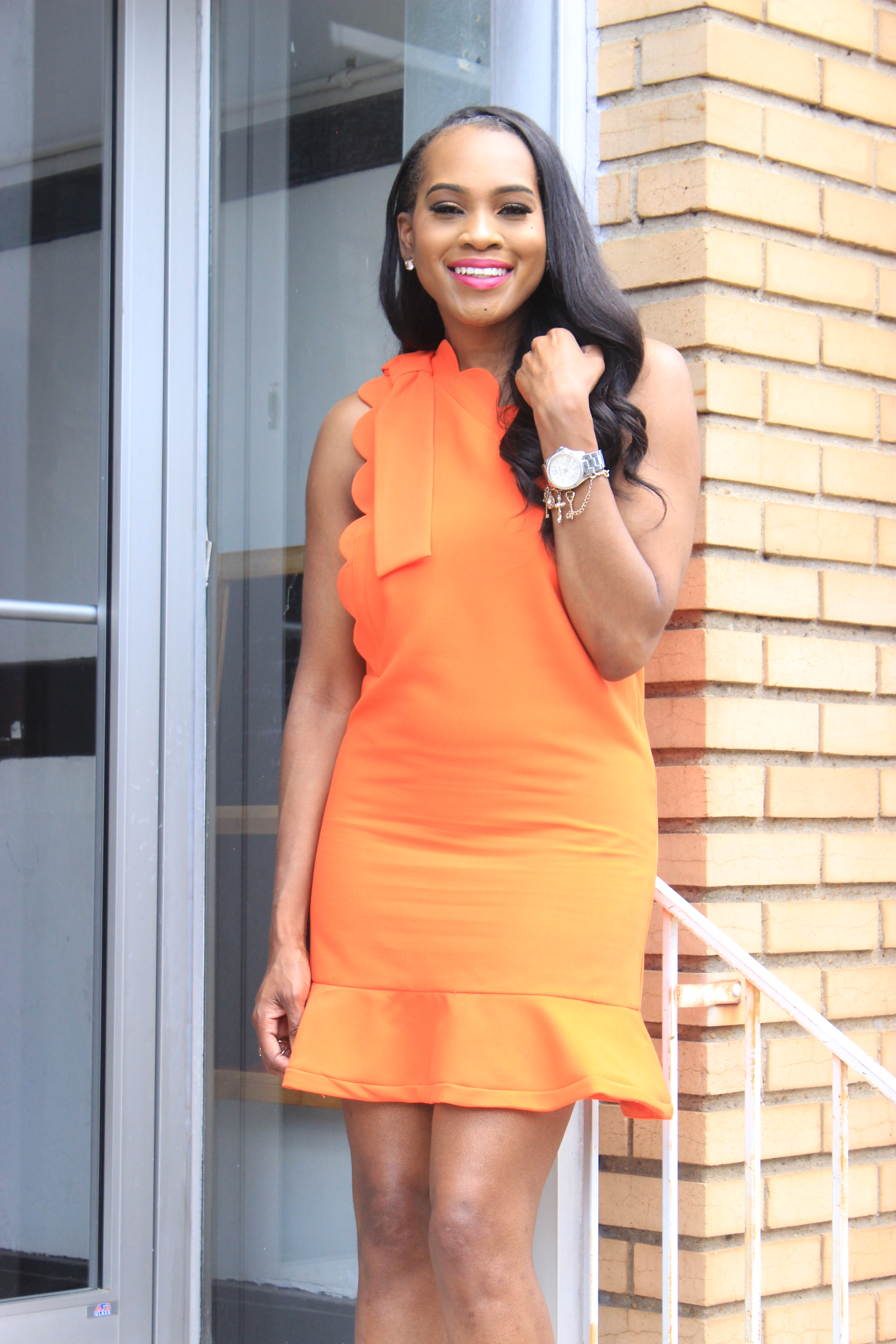 Style-Files-Orange-One Shoulder Dress-with-Bow and-Scallop-Trim-Victoria Beckham-for-Target-How-to-wear-victoria-beckham-for-target-Victoria-Beckham-for-Target-Review-Justfab-orange-kati-ankle-strap-sandals-oohlalablog-2