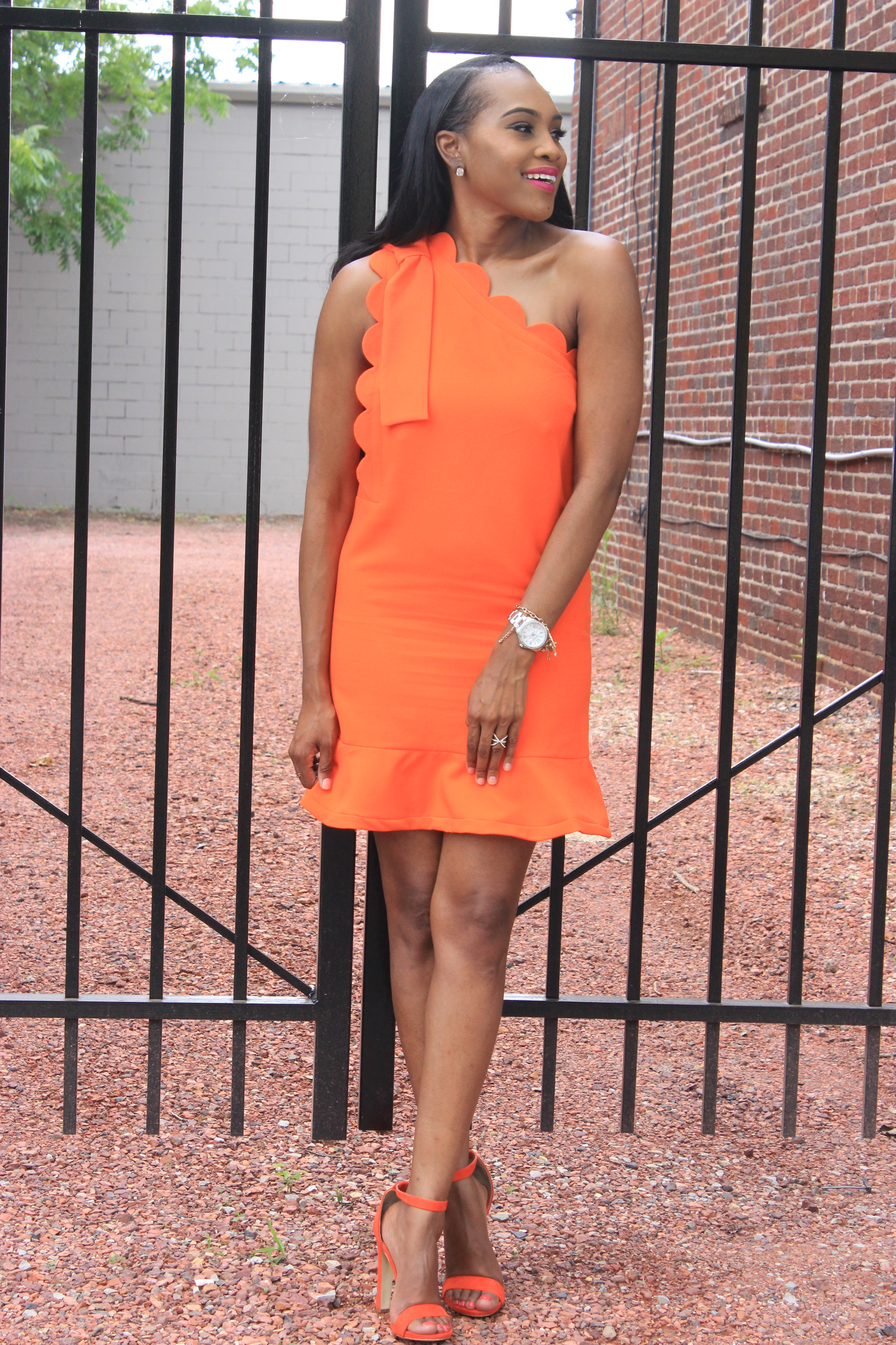 Style-Files-Orange-One Shoulder Dress-with-Bow and-Scallop-Trim-Victoria Beckham-for-Target-How-to-wear-victoria-beckham-for-target-Victoria-Beckham-for-Target-Review-Justfab-orange-kati-ankle-strap-sandals-oohlalablog-7