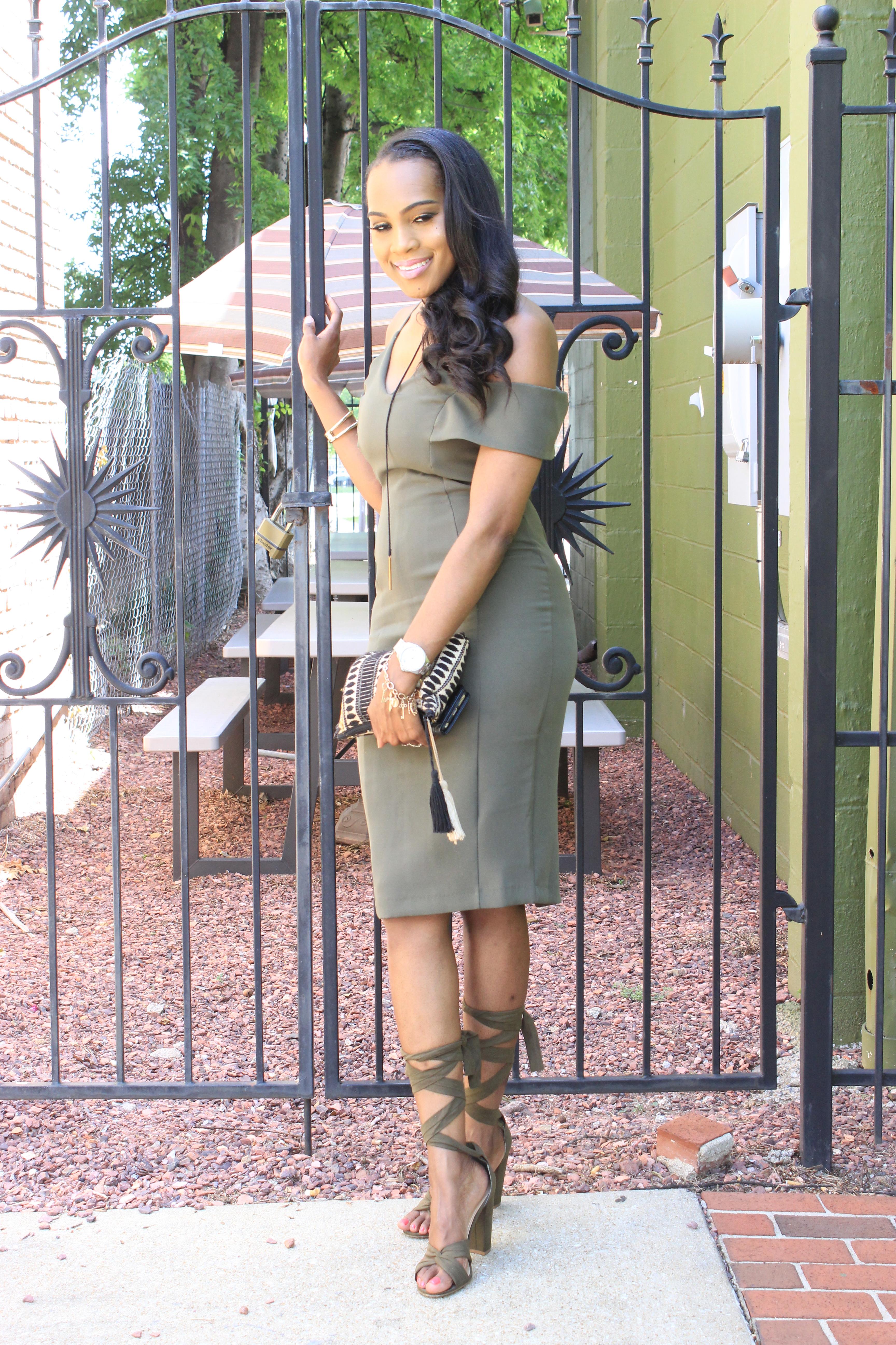 Style-Files-khaki-Vesper Cold-Shoulder-Pencil-Midi-Dress-JustFab-Acacia-Heeled-Sandals-Olive-Green-how to-wear-olive-green-how-to-wear-khaki-oohlalablog-11