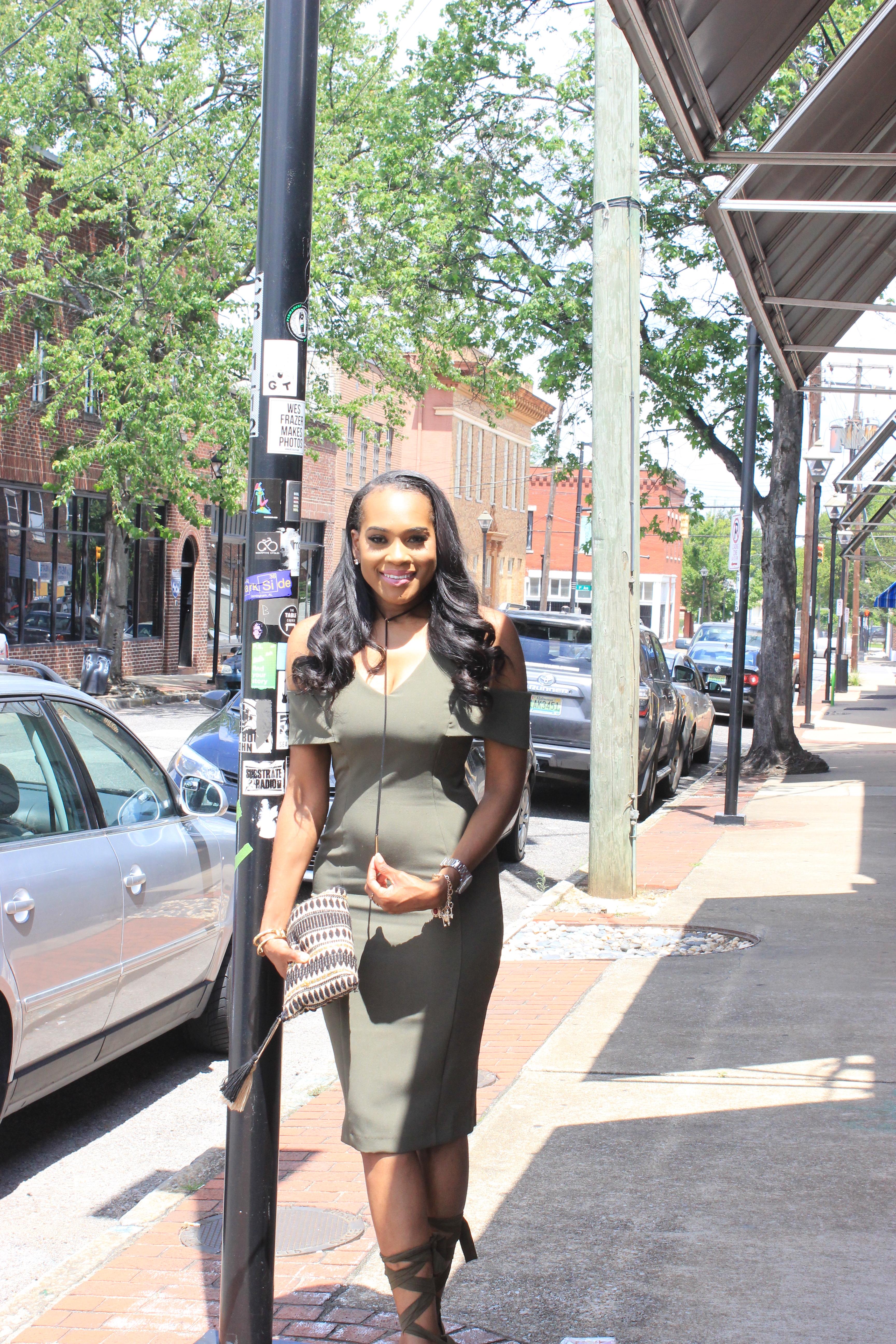 Style-Files-khaki-Vesper Cold-Shoulder-Pencil-Midi-Dress-JustFab-Acacia-Heeled-Sandals-Olive-Green-how to-wear-olive-green-how-to-wear-khaki-oohlalablog-15