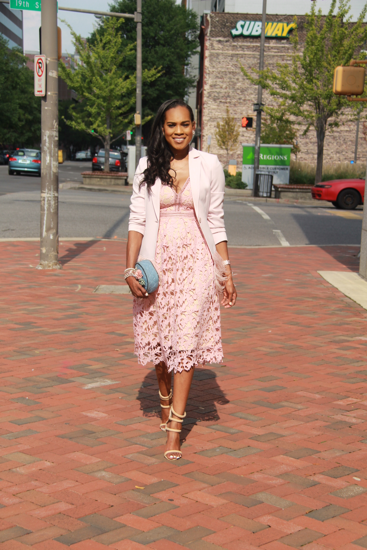 Style-files-Romeo-Juliet-Couture-pink-nude-Deep-V-Lace-Midi-Dress-Nasty-gal-on-a-level-nude-sandals-Gianni Bini-Lizzy-Notch-Lapel-Collar-pink-Feather-Trim-Solid-Crepe Blazer-oohlalablog-10