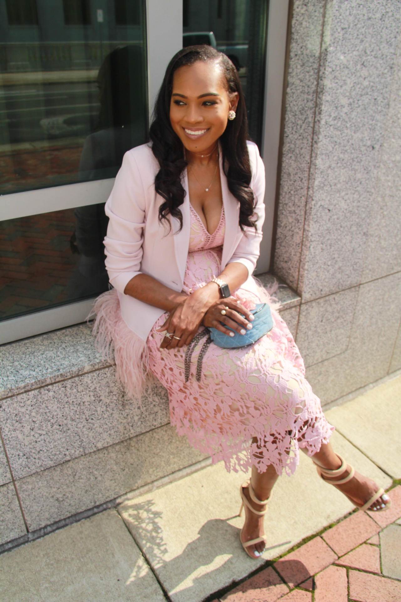 Style-files-Romeo-Juliet-Couture-pink-nude-Deep-V-Lace-Midi-Dress-Nasty-gal-on-a-level-nude-sandals-Gianni Bini-Lizzy-Notch-Lapel-Collar-pink-Feather-Trim-Solid-Crepe Blazer-oohlalablog-8