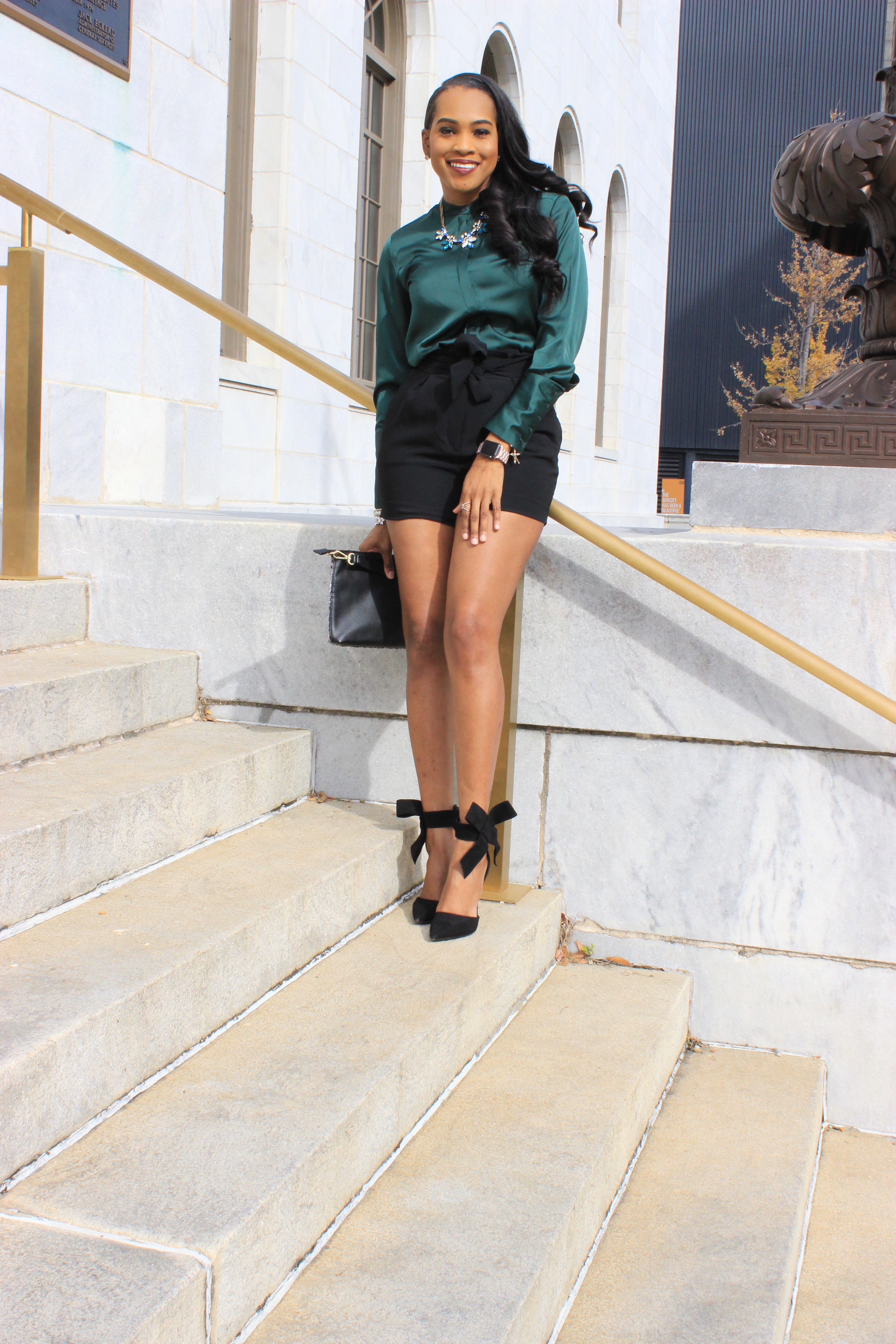 Style-Files-HM-Dark-Green-Satin-button-front-blouse-black-hm-tie-front-shorts-justfab-black-Giada-bow-heels- Gianni-Bini-Lizzy-Notch-Lapel-Collar- with-feather-hem-christmas-style-inspiration-what-to-wear-duirng-the-holidays-oohlalablog-11