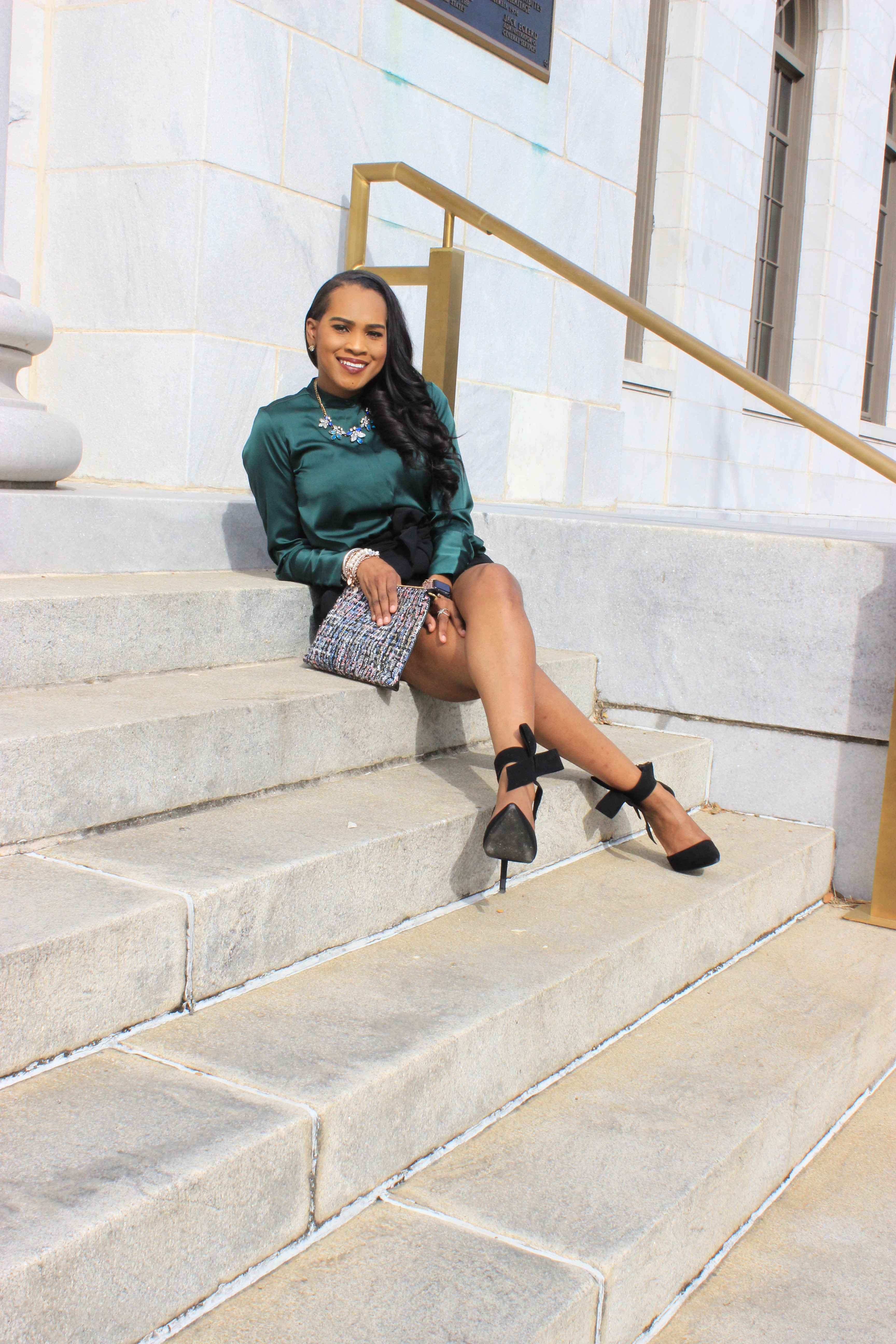 Style-Files-HM-Dark-Green-Satin-button-front-blouse-black-hm-tie-front-shorts-justfab-black-Giada-bow-heels- Gianni-Bini-Lizzy-Notch-Lapel-Collar- with-feather-hem-christmas-style-inspiration-what-to-wear-duirng-the-holidays-oohlalablog-13