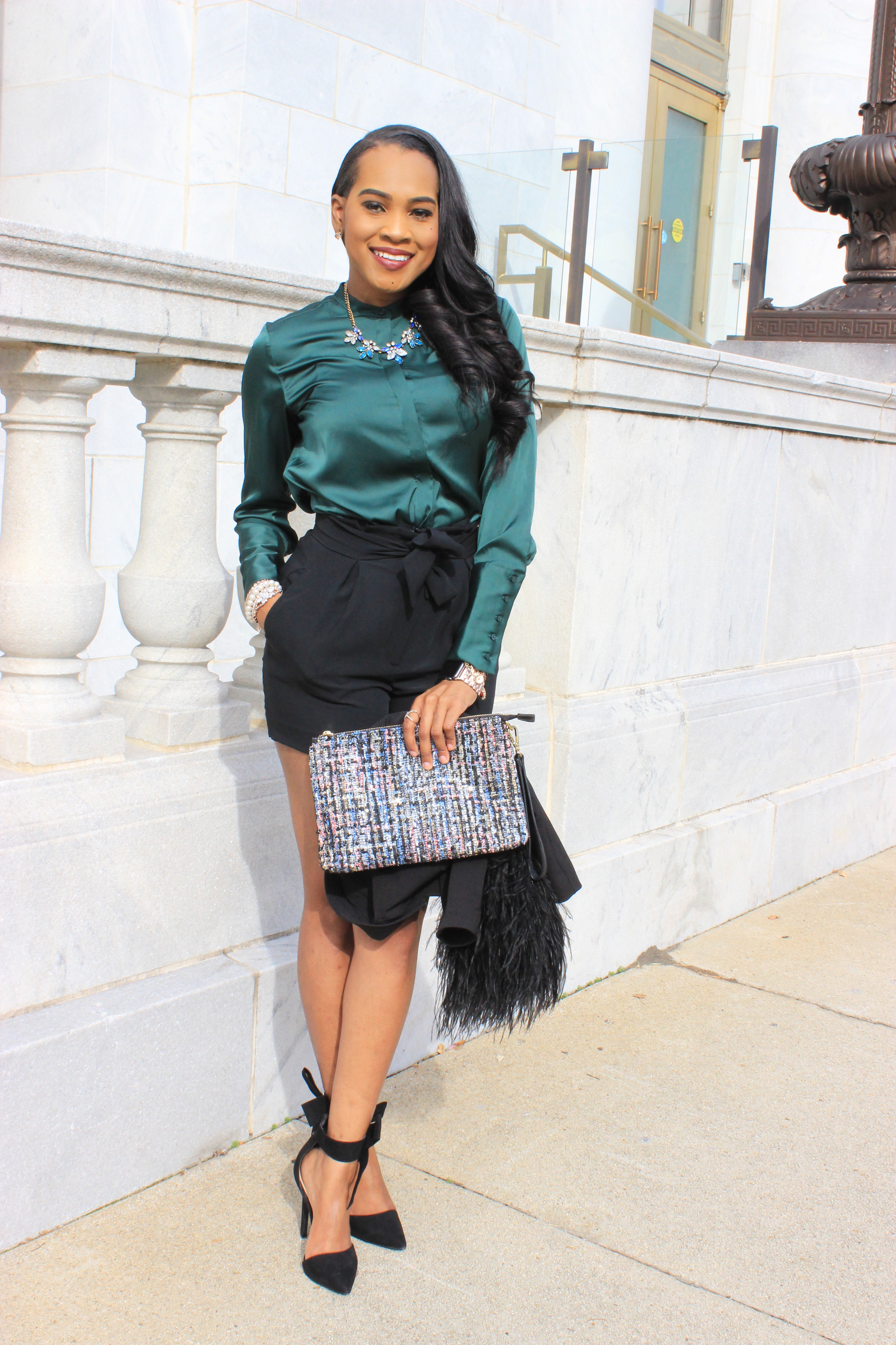 Style-Files-HM-Dark-Green-Satin-button-front-blouse-black-hm-tie-front-shorts-justfab-black-Giada-bow-heels- Gianni-Bini-Lizzy-Notch-Lapel-Collar- with-feather-hem-christmas-style-inspiration-what-to-wear-duirng-the-holidays-oohlalablog-4