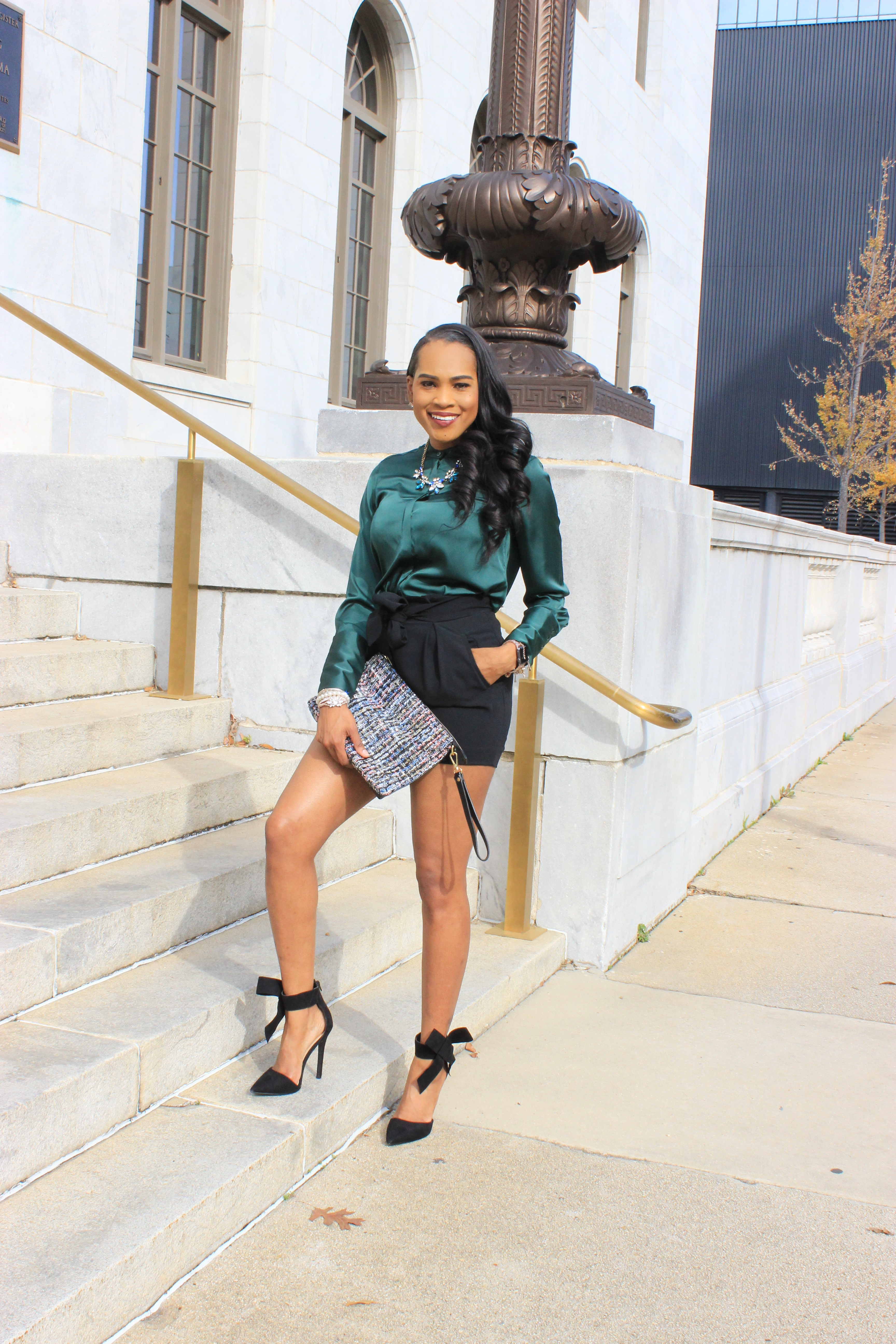 Style-Files-HM-Dark-Green-Satin-button-front-blouse-black-hm-tie-front-shorts-justfab-black-Giada-bow-heels- Gianni-Bini-Lizzy-Notch-Lapel-Collar- with-feather-hem-christmas-style-inspiration-what-to-wear-duirng-the-holidays-oohlalablog-5