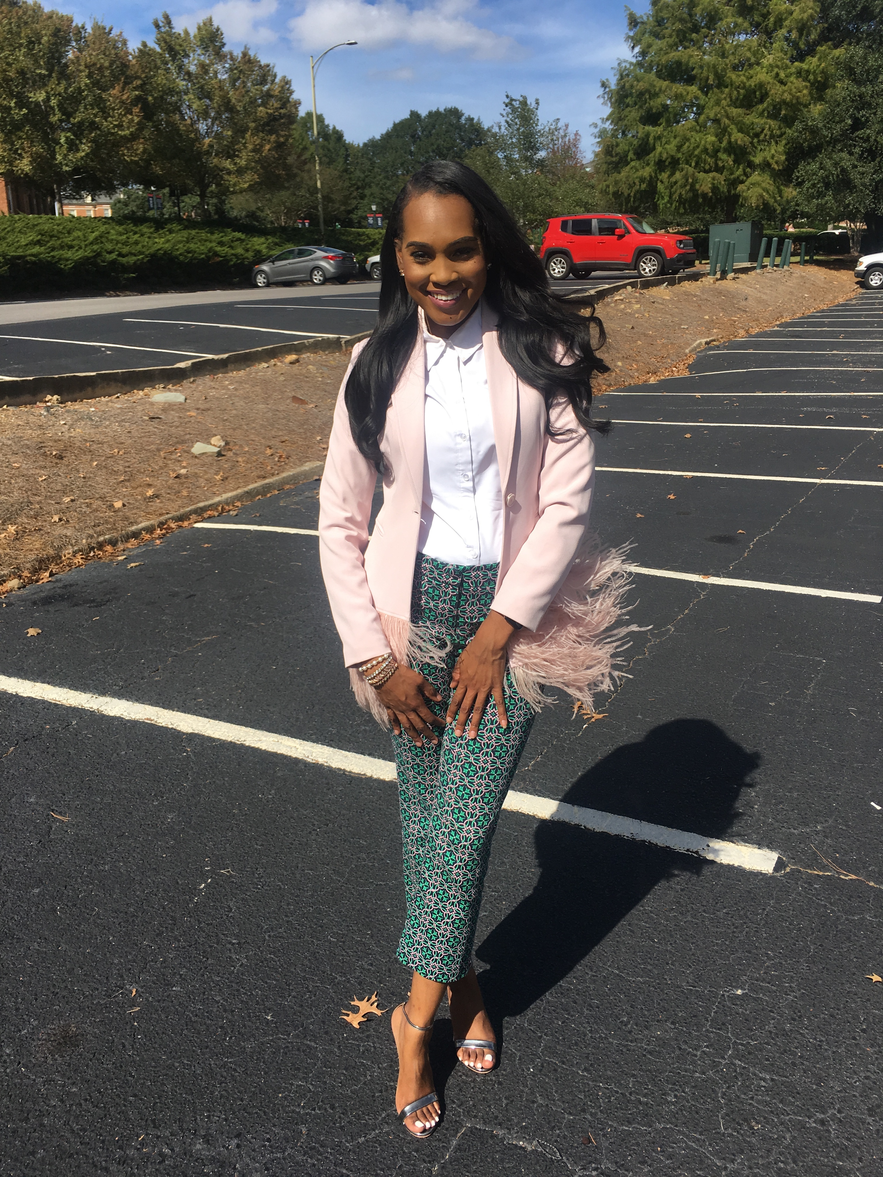 Style-Files-Thrifted-Printed-Jcrew-ankle-pants- white-thrifted-blouse-Pink-Gianni-Bini-Lizzy-Notch-Lapel-Collar-Feather-Trim-Solid-Crepe-Blazer-feather-hem-blazer-Birmingham-Association-of-black-journalist-college-panel-event-oohlalablog-2