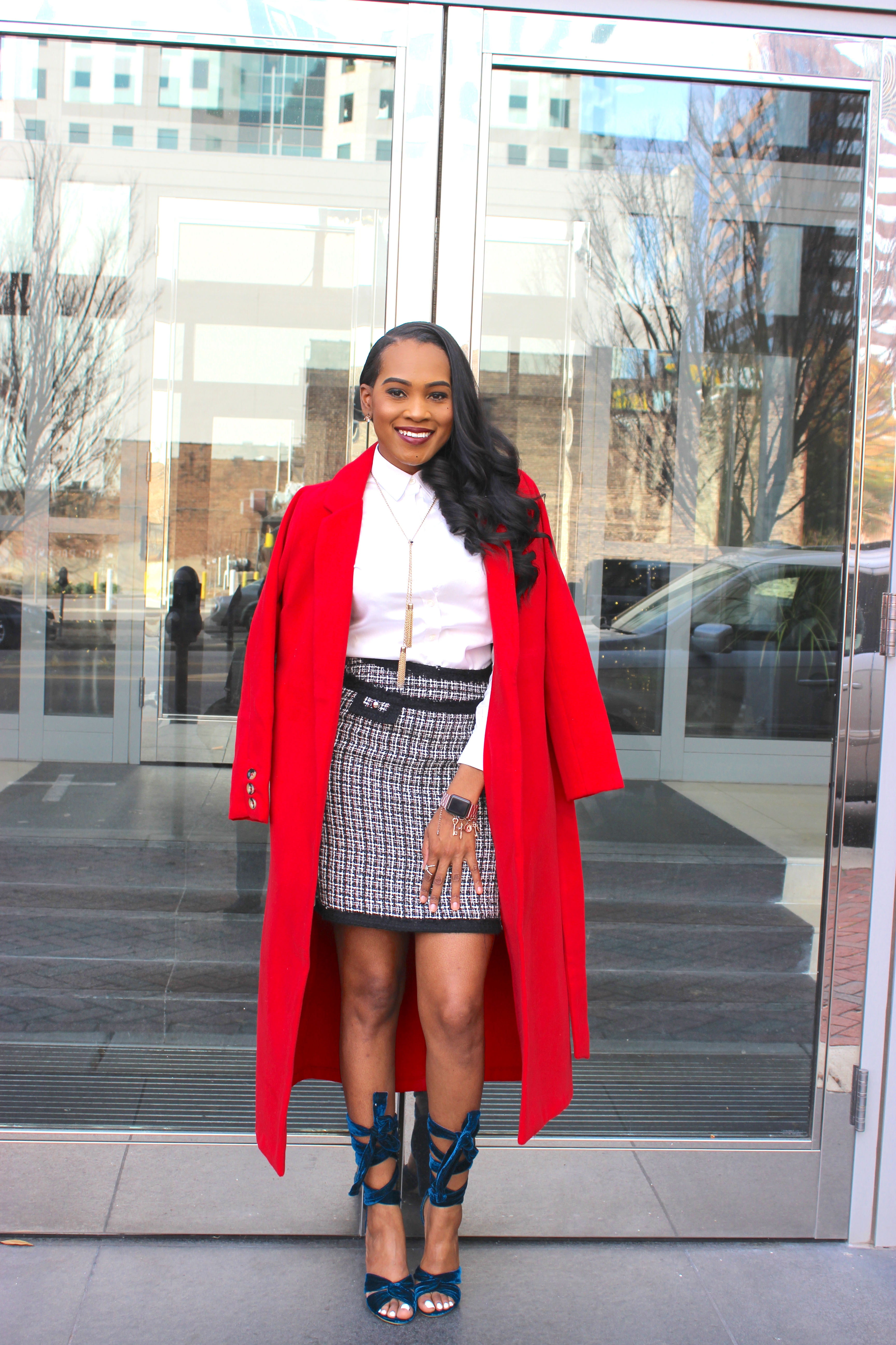 Style-files-thrifted-plaid-white-black-house-market-skirt-white-banna-republic-button-front-blouse-justfab-Scarlet Sage-wrap-coat-justfab-teal-velvet-Acacia Heeled Sandals-oohlalablog-6