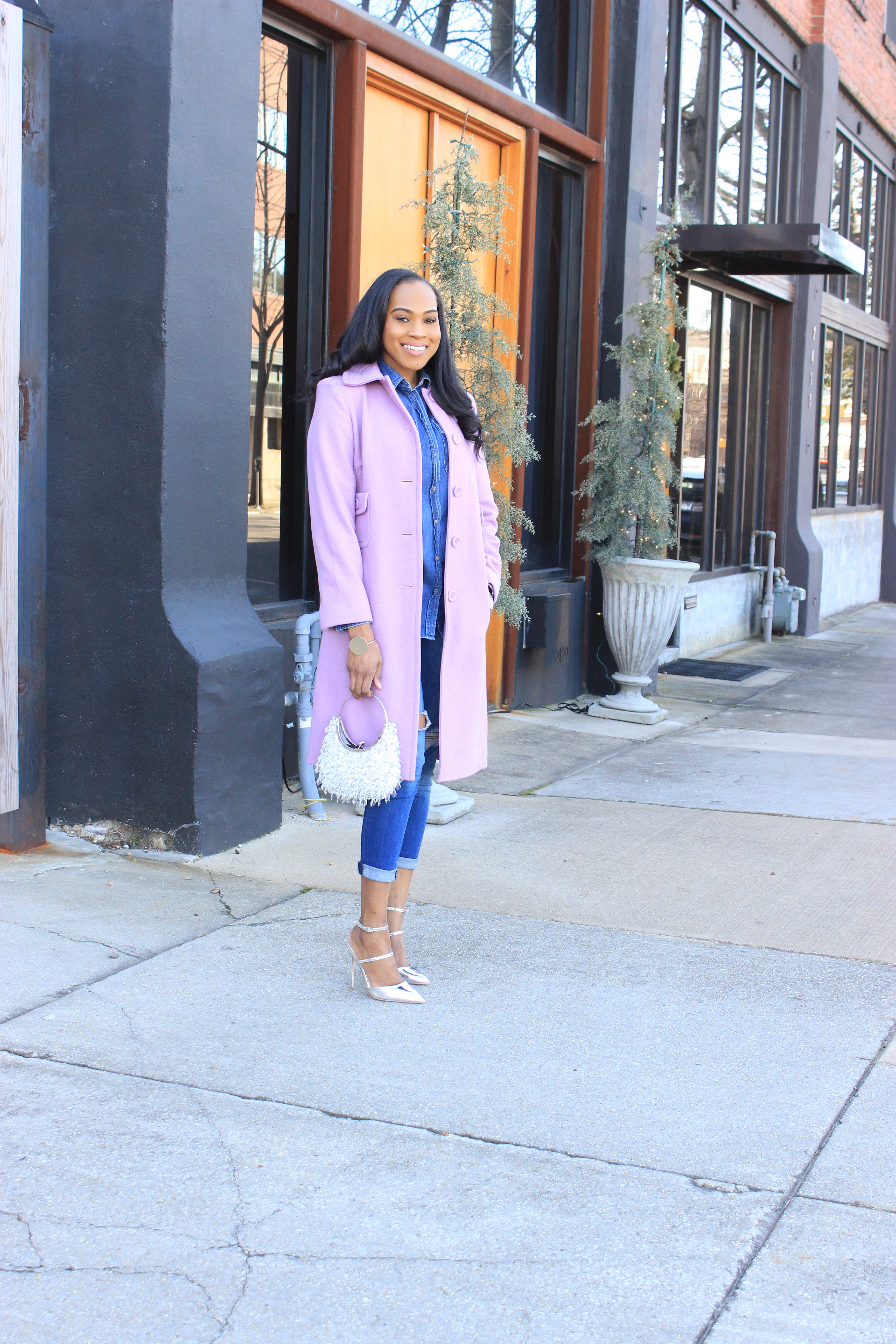 Style-Files-Merona-Denim-Button-front-shirt-distressed-denim- jeans- Lavender-Ninewest-wool-coat-silver-metallic-asos-picture-perfect-pointed-toe-heels-how-to-wear-denim-on-denim-oohlalablog-10