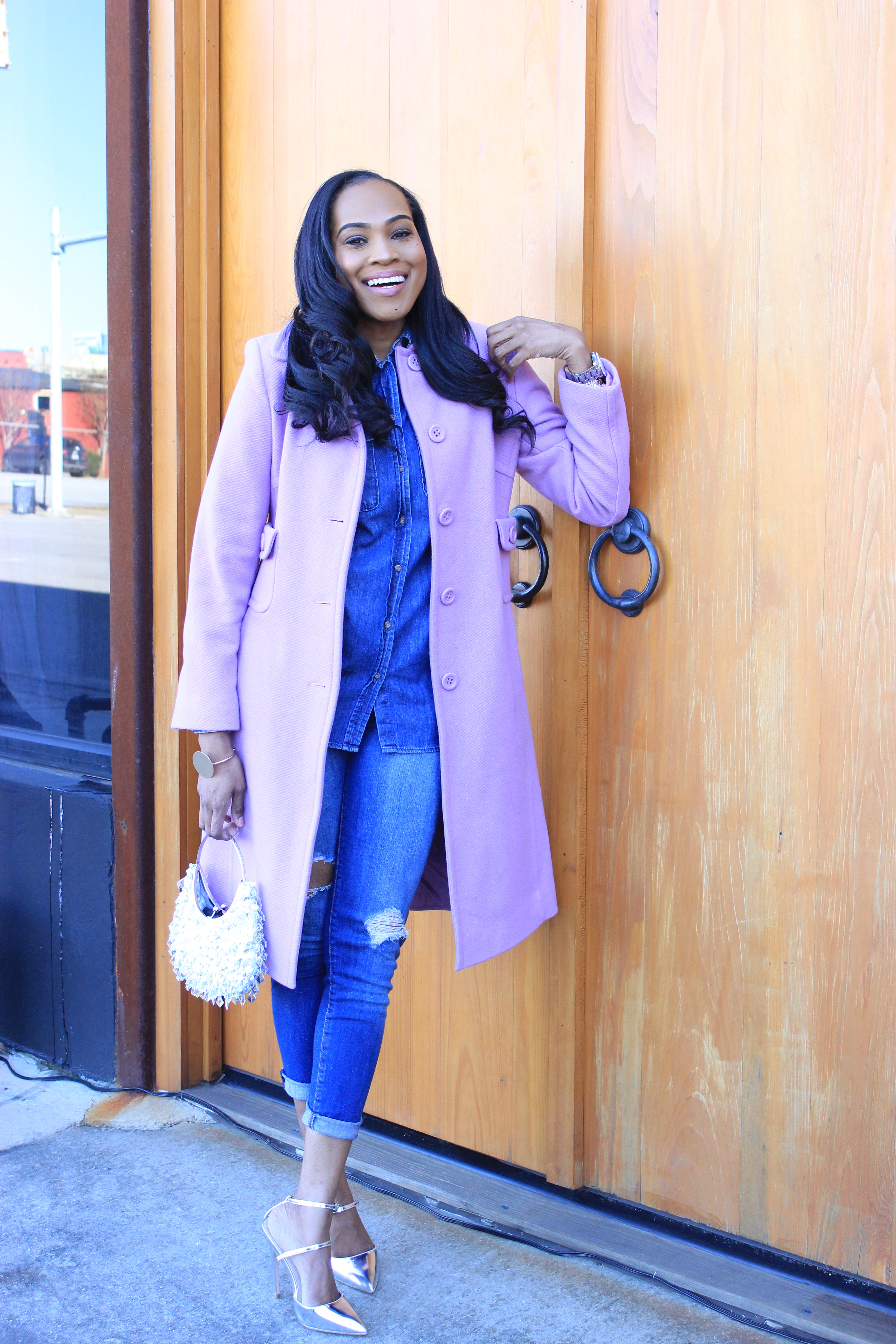 Style-Files-Merona-Denim-Button-front-shirt-distressed-denim- jeans- Lavender-Ninewest-wool-coat-silver-metallic-asos-picture-perfect-pointed-toe-heels-how-to-wear-denim-on-denim-oohlalablog-12