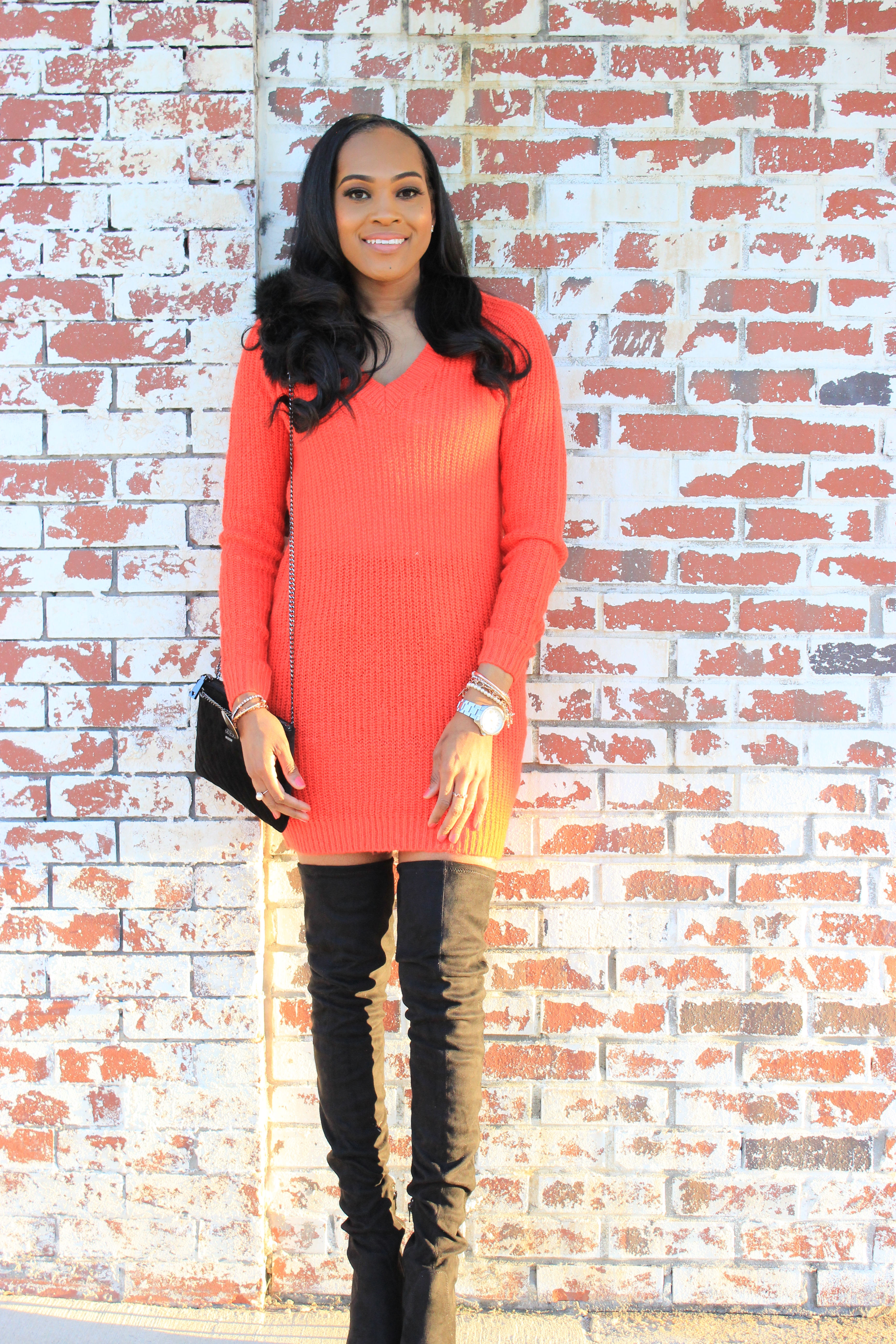 Style-files-ASOS-BLACK-KENDRA Point-Over-The-Knee-Boots-Vila-Red-Long V-Neck-Knitted-Sweater-Black-suede-flat-front-pocket-shorts-oohlalablog-2