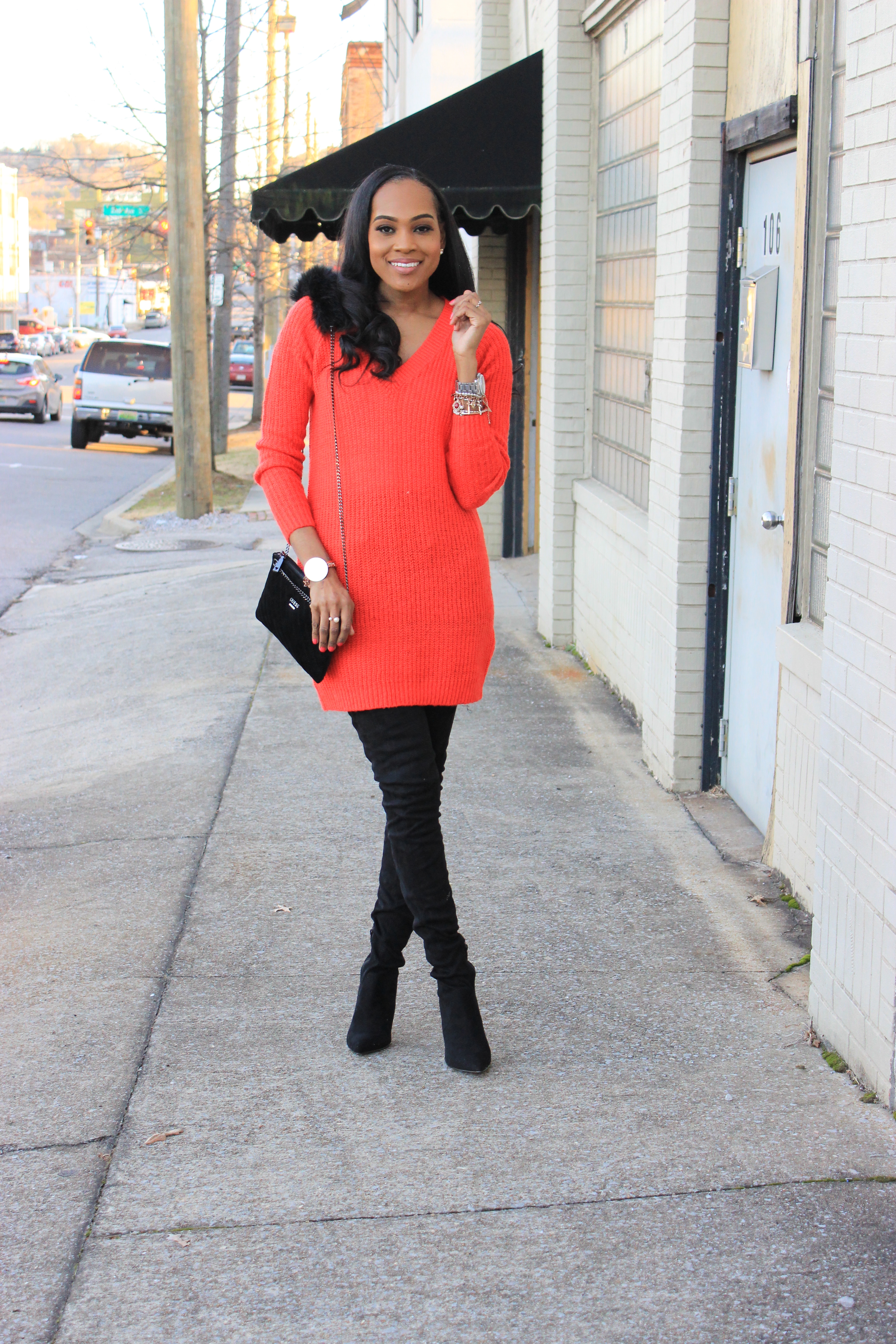 Style-files-ASOS-BLACK-KENDRA Point-Over-The-Knee-Boots-Vila-Red-Long V-Neck-Knitted-Sweater-Black-suede-flat-front-pocket-shorts-oohlalablog-6
