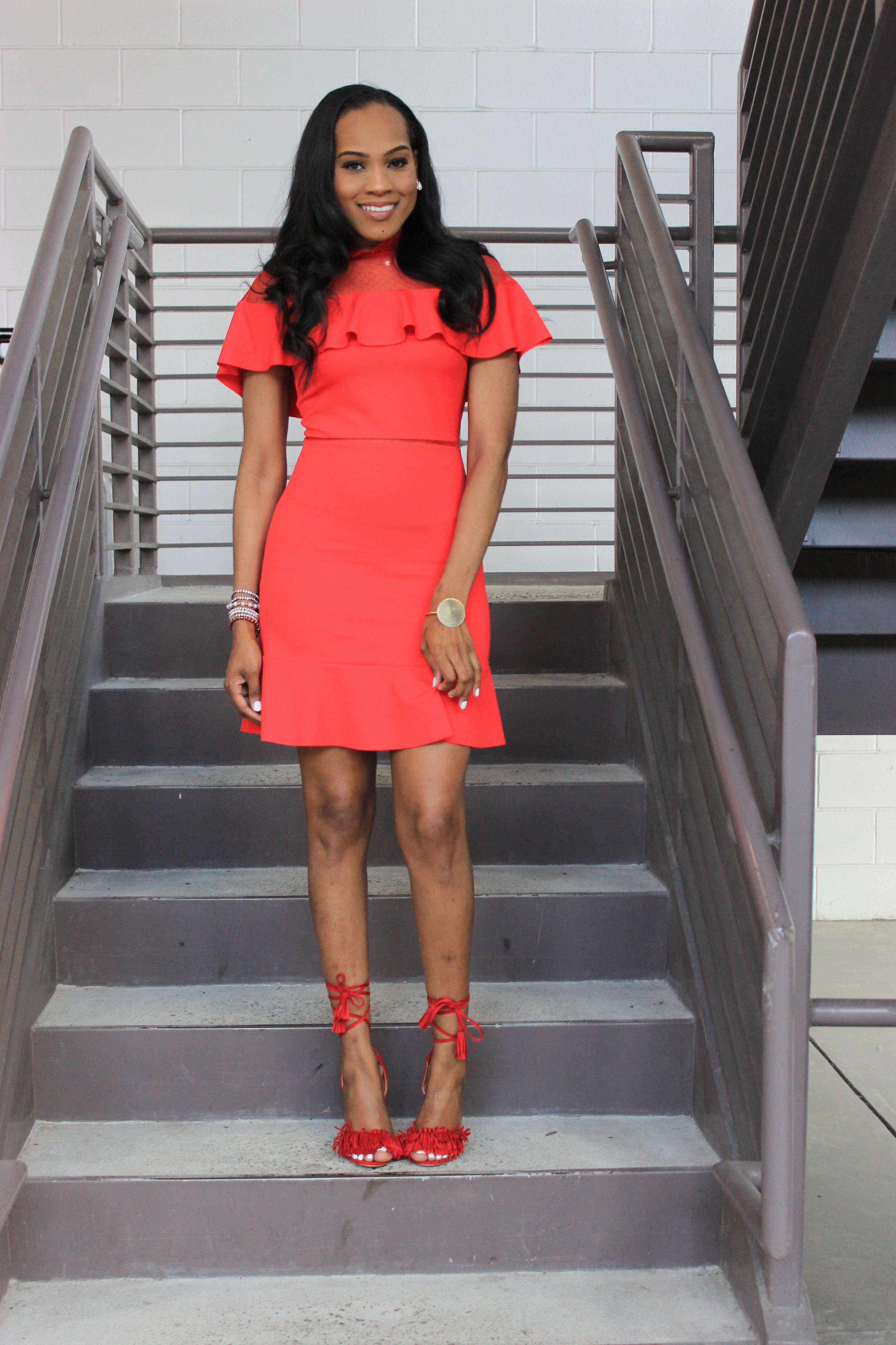 Style-files-Asos-Skater-Dress-with-Dobby-mesh-panel-red-skater-dress-asos-red-skater-dress-red-fringe-justfab-heels-justfab-red-tayrey-heel-sandals-oohlalablog-