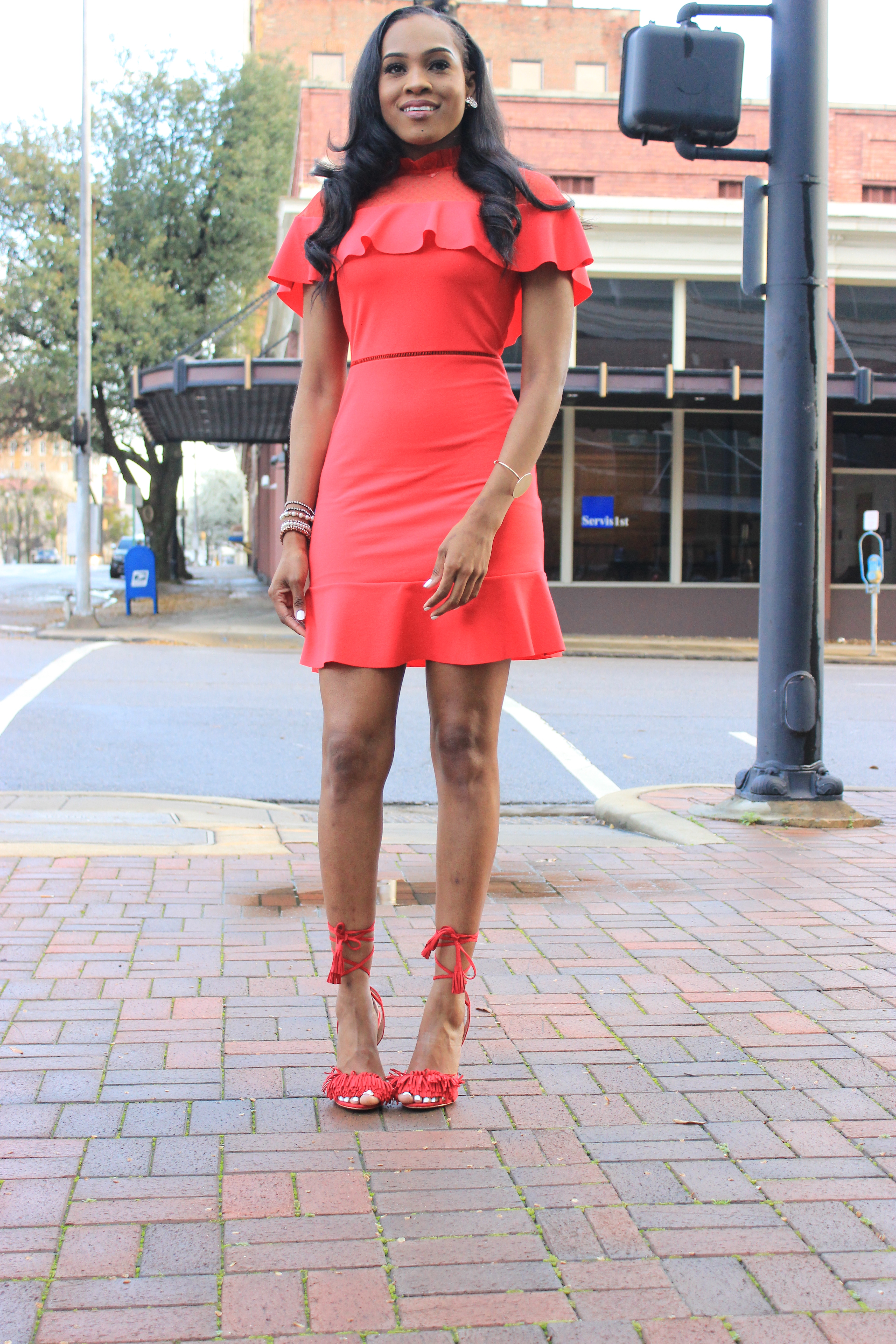 Style-files-Asos-Skater-Dress-with-Dobby-mesh-panel-red-skater-dress-asos-red-skater-dress-red-fringe-justfab-heels-justfab-red-tayrey-heel-sandals-oohlalablog-10