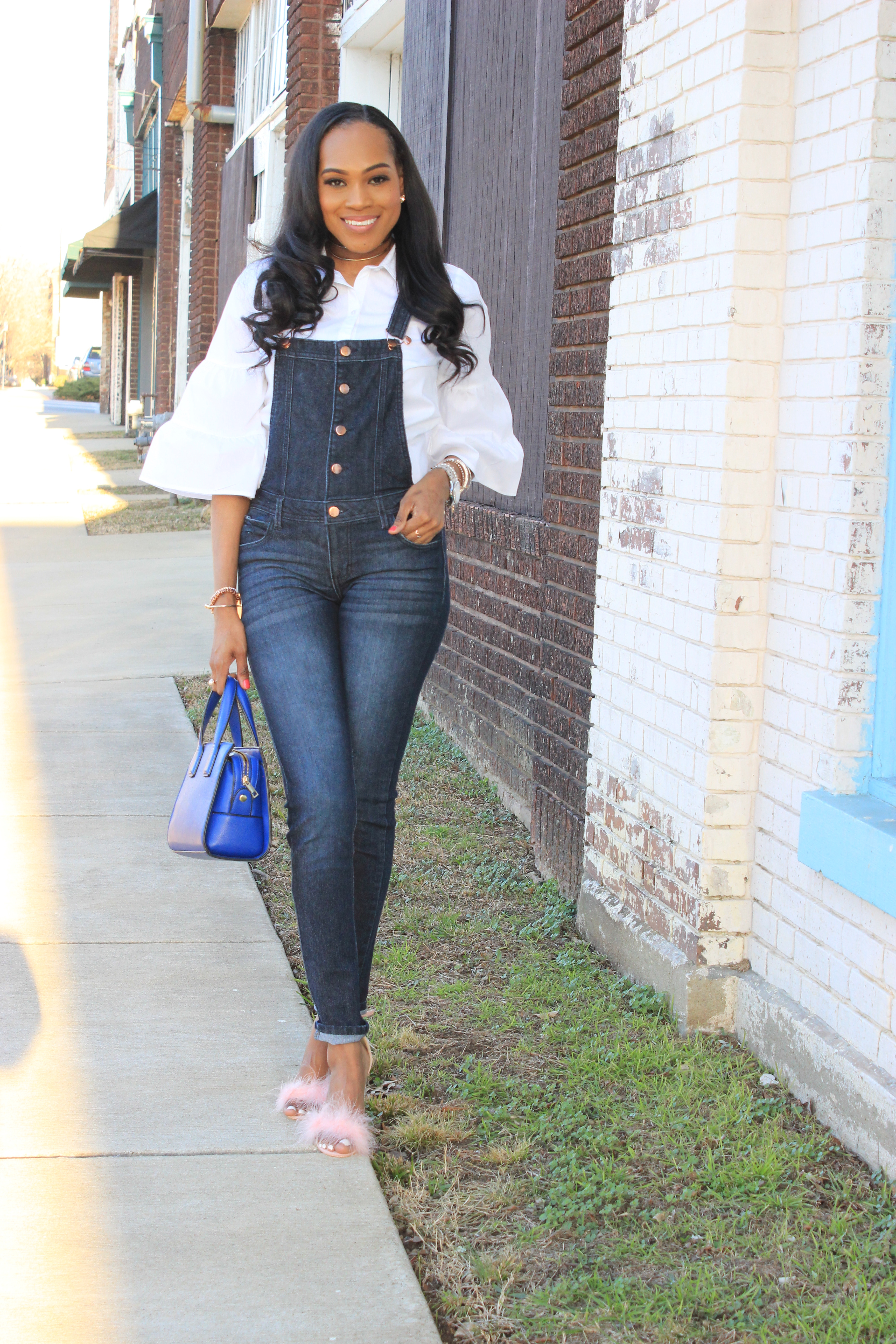 Style-files-denim-overalls-white-button-front-bell-sleeve-blouse-missguiided-pink-fur-heels-oohlalablog-