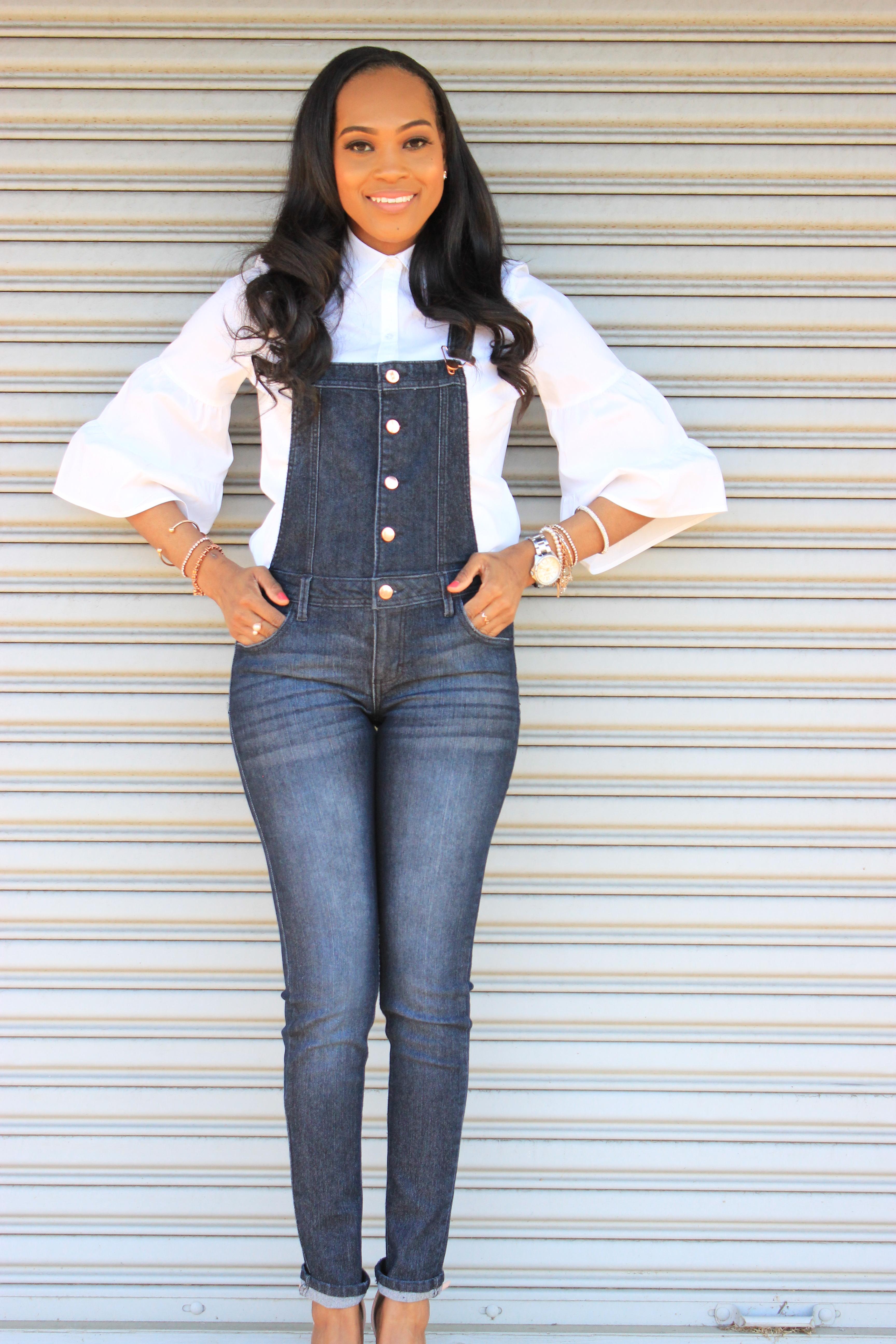 Style-files-denim-overalls-white-button-front-bell-sleeve-blouse-missguiided-pink-fur-heels-oohlalablog-13