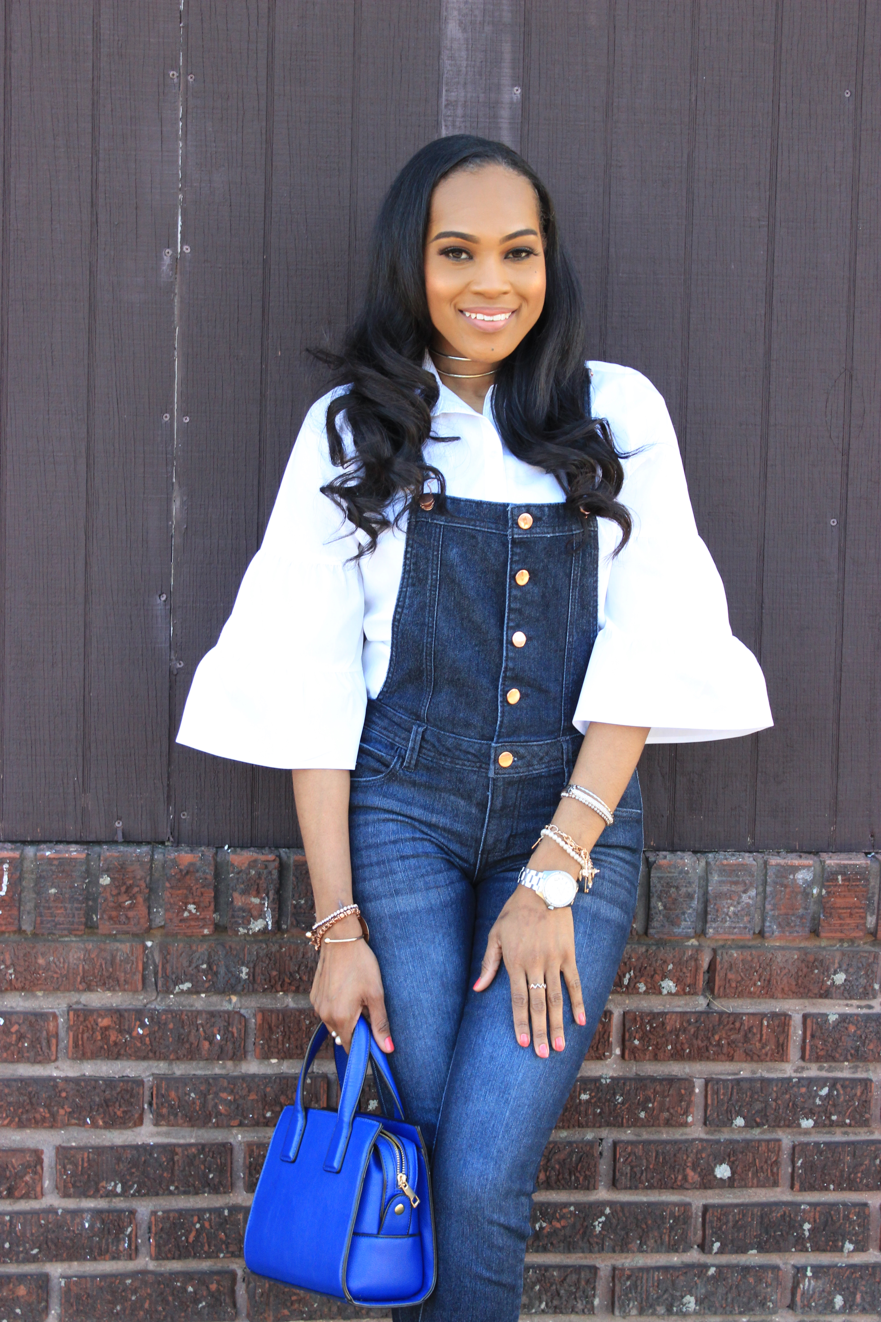Style-files-denim-overalls-white-button-front-bell-sleeve-blouse-missguiided-pink-fur-heels-oohlalablog-2