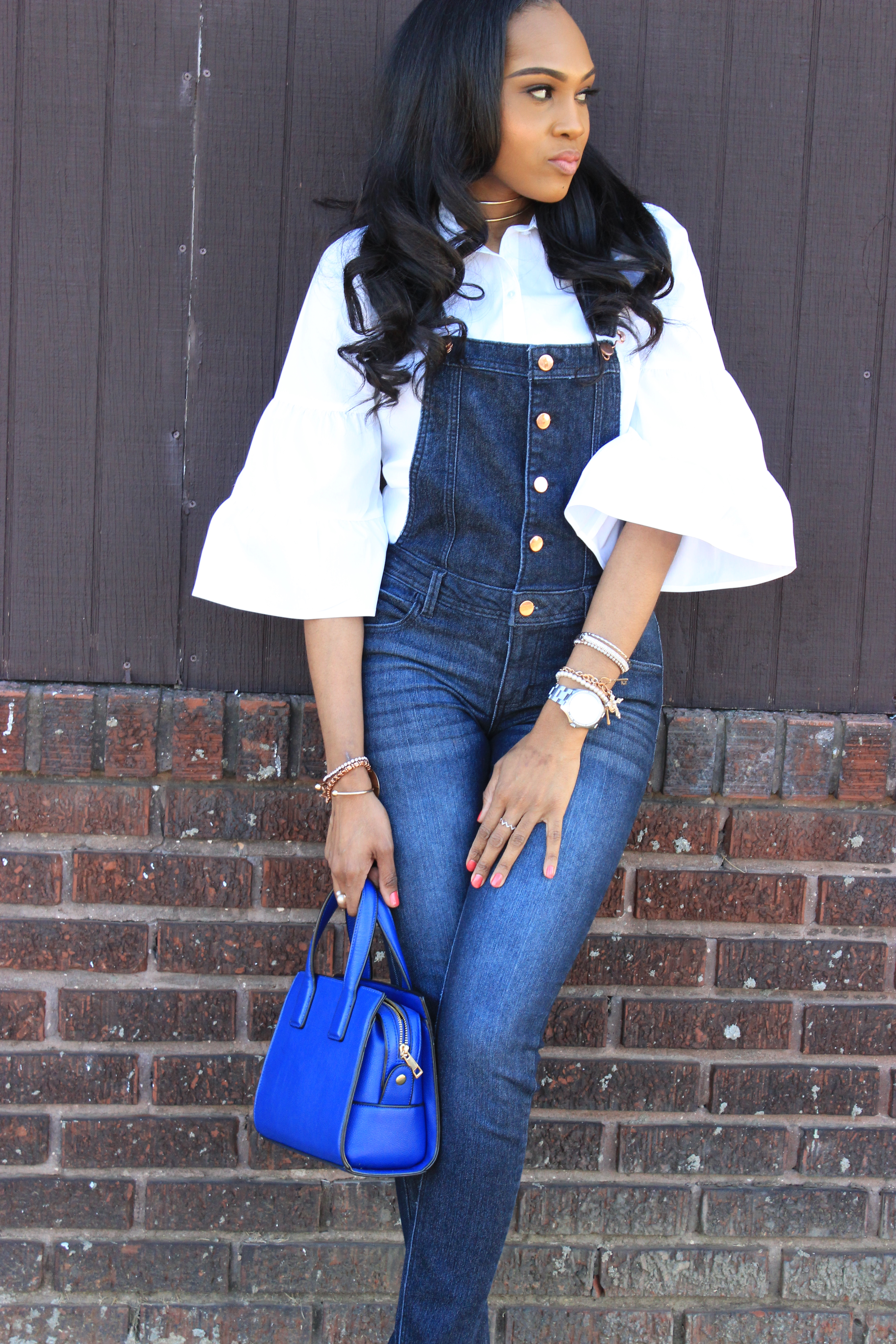 Style-files-denim-overalls-white-button-front-bell-sleeve-blouse-missguiided-pink-fur-heels-oohlalablog-3