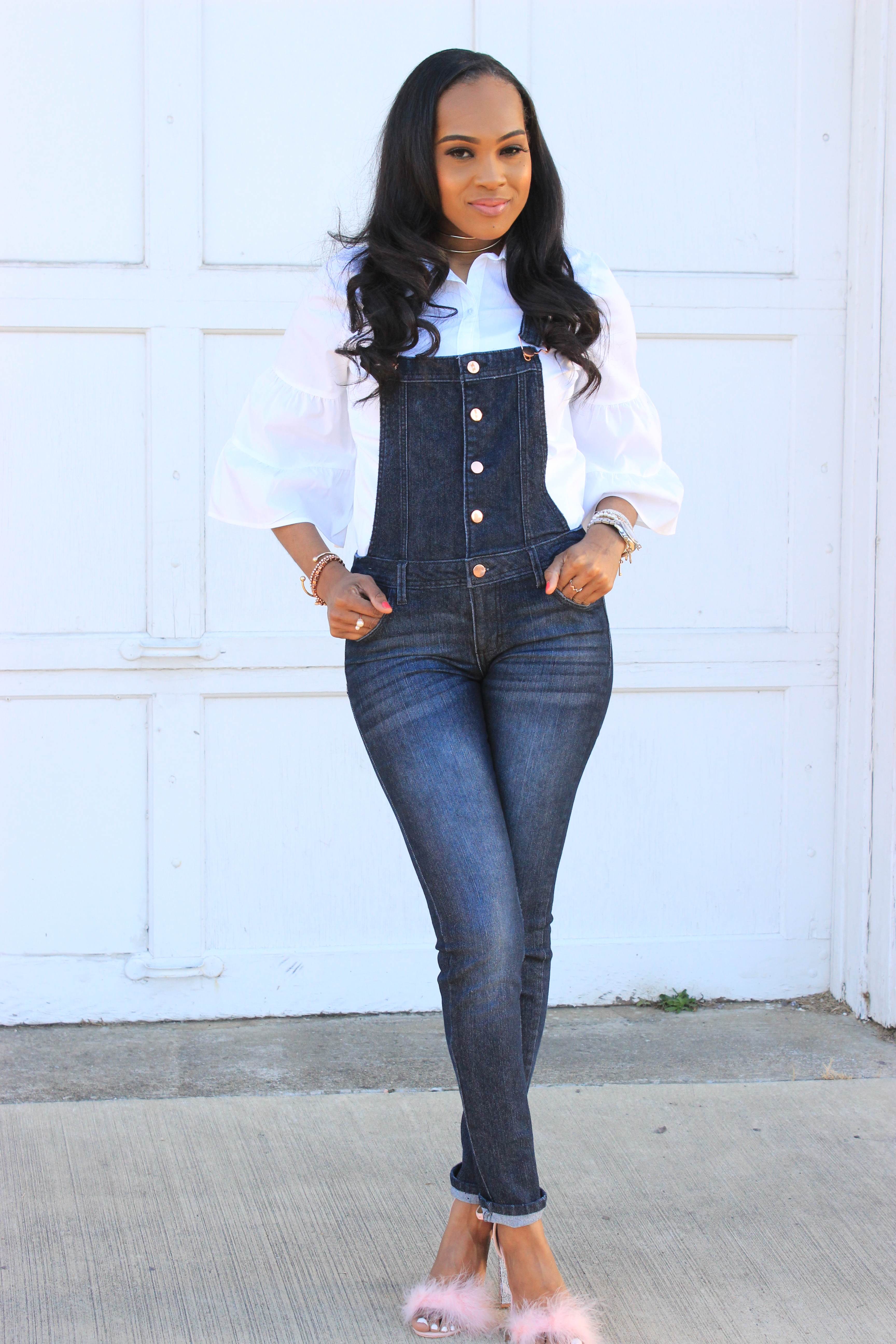 Style-files-denim-overalls-white-button-front-bell-sleeve-blouse-missguiided-pink-fur-heels-oohlalablog-4