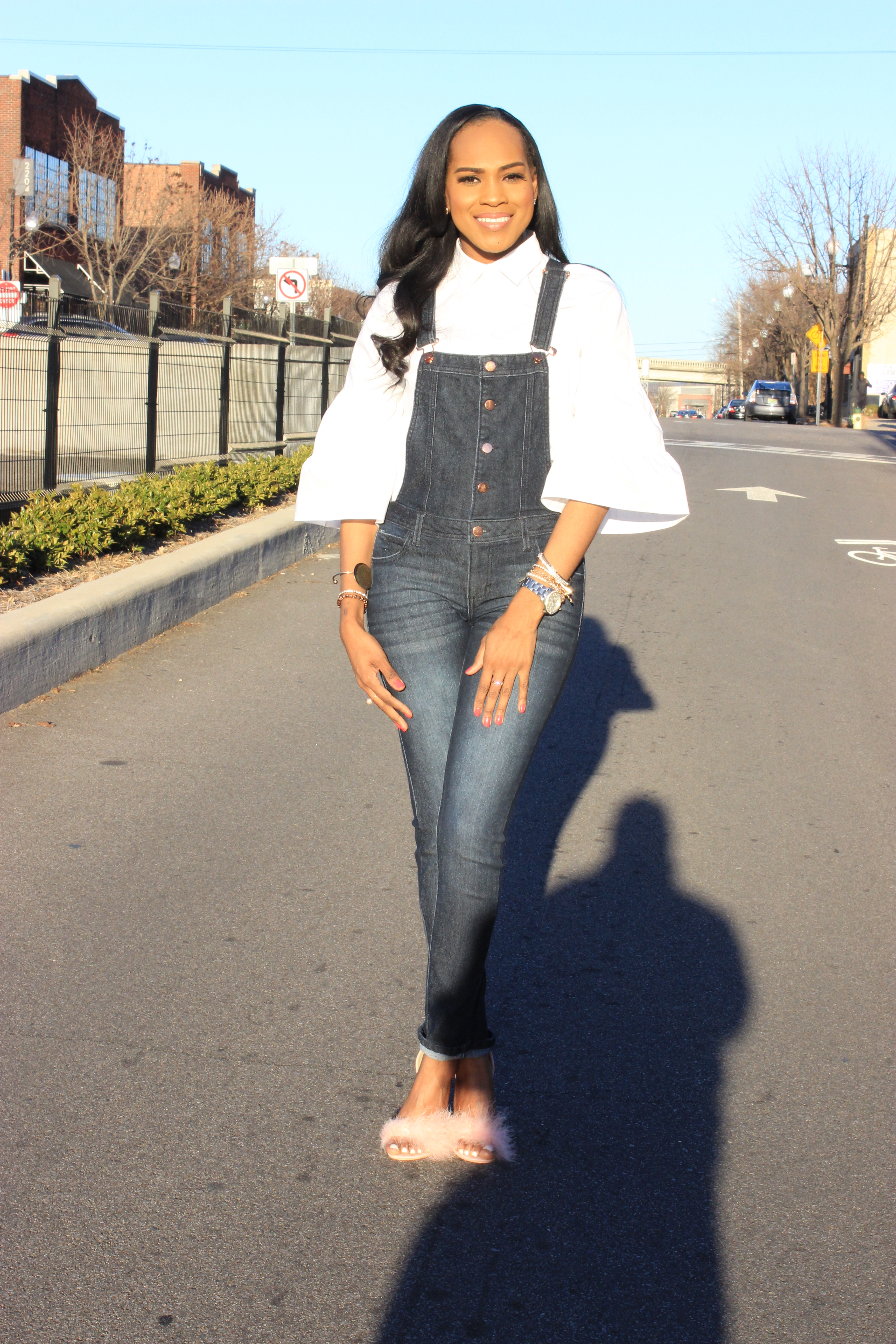 Style-files-denim-overalls-white-button-front-bell-sleeve-blouse-missguiided-pink-fur-heels-oohlalablog-9
