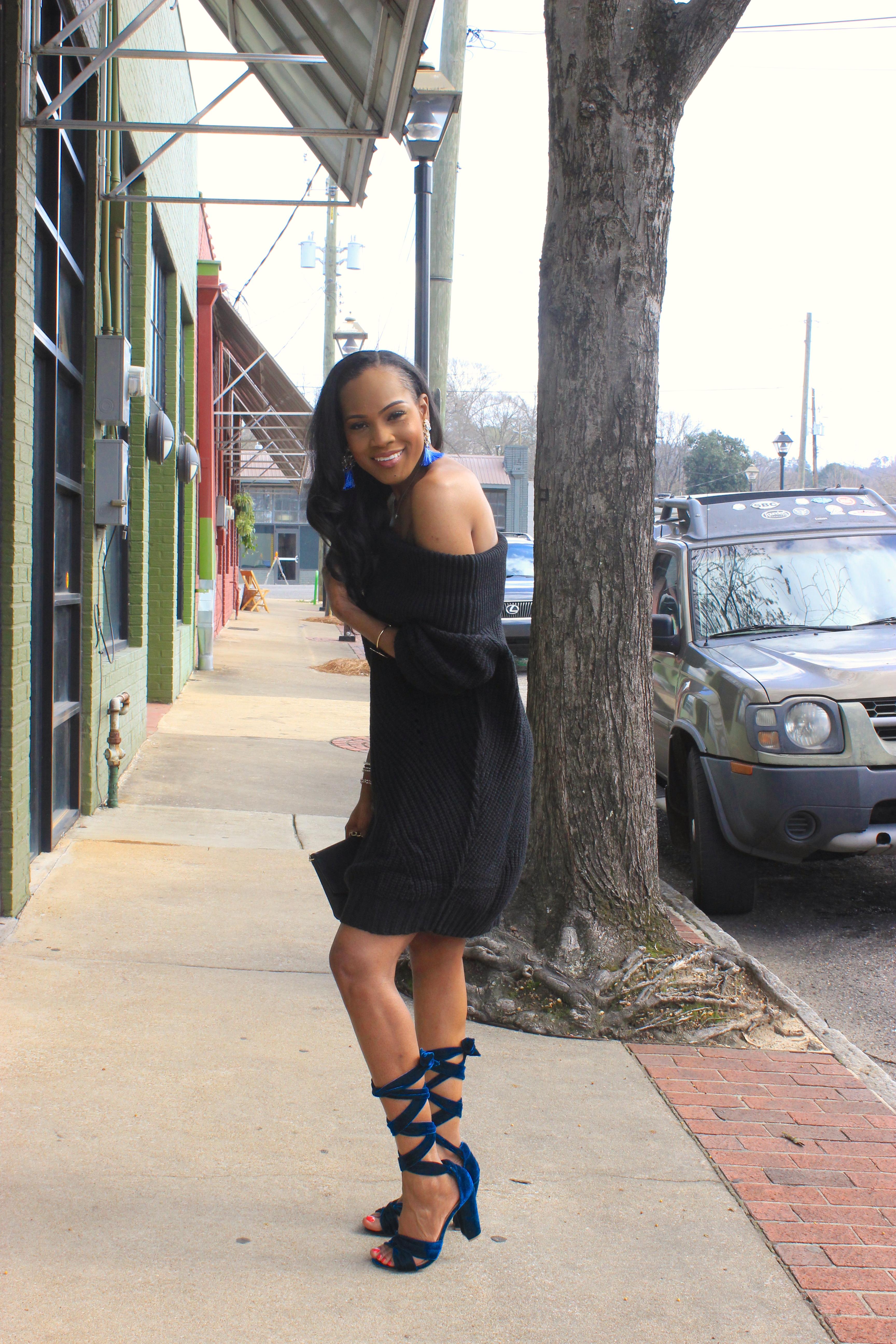 Style-Files-Tobi-nikki-black-off-the-shoulder-sweater-dress-justfab-blue-velvet-lace-up-sandals-justfab-teal-velvet-Acacia Heeled Sandals-oohlalablog-